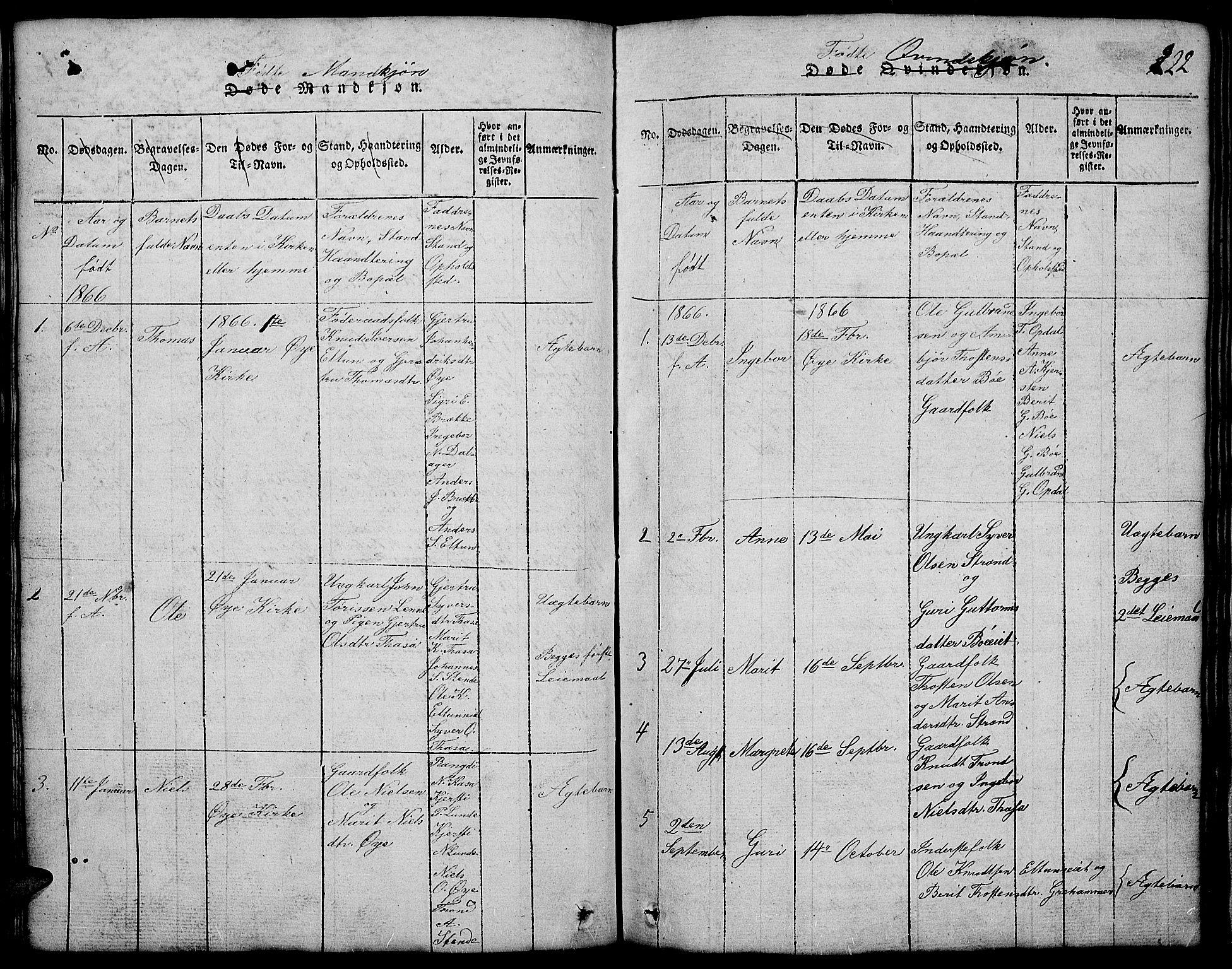 SAH, Vang prestekontor, Valdres, Klokkerbok nr. 2, 1814-1889, s. 122