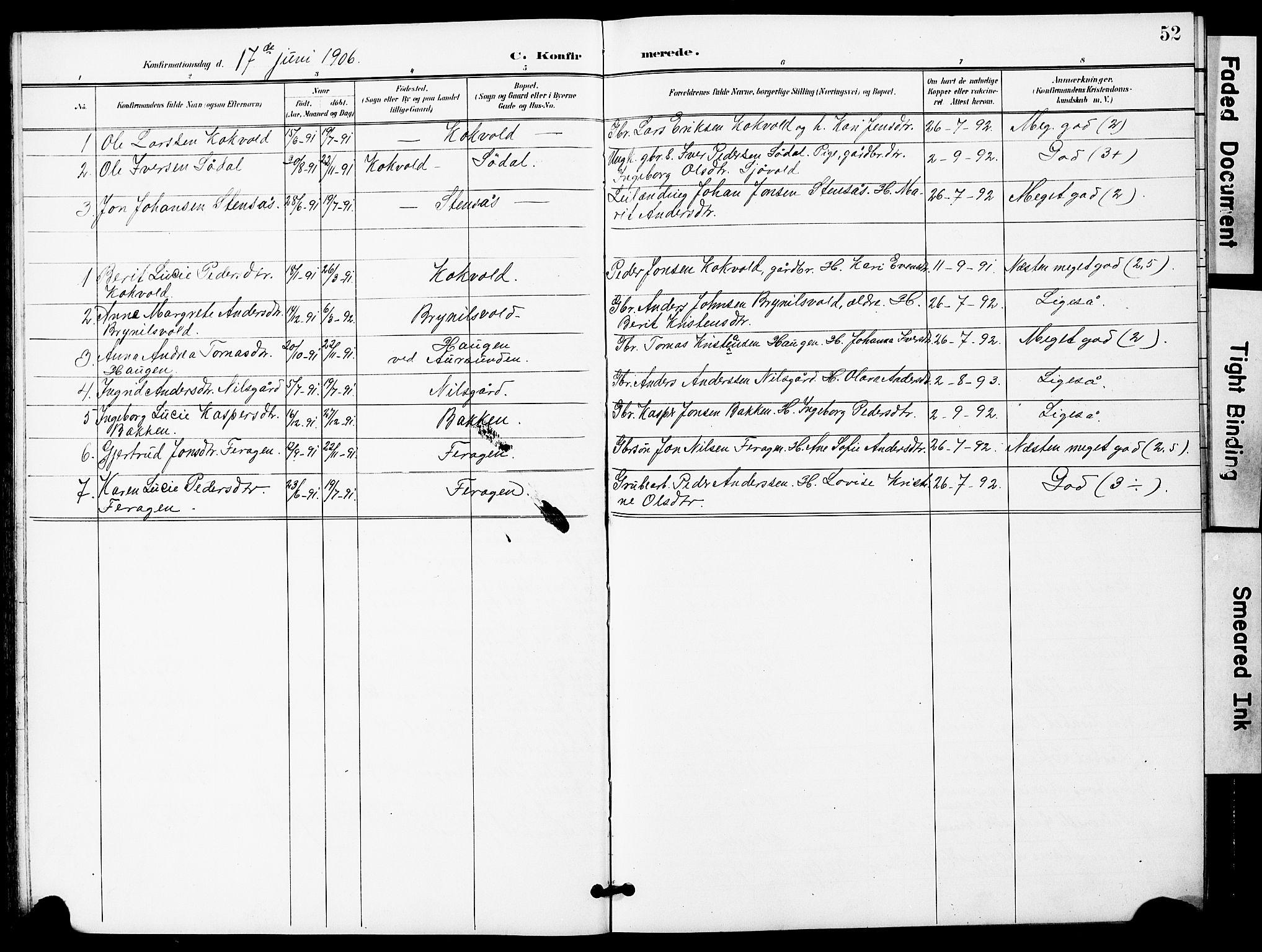 SAT, Ministerialprotokoller, klokkerbøker og fødselsregistre - Sør-Trøndelag, 683/L0950: Klokkerbok nr. 683C02, 1897-1918, s. 52