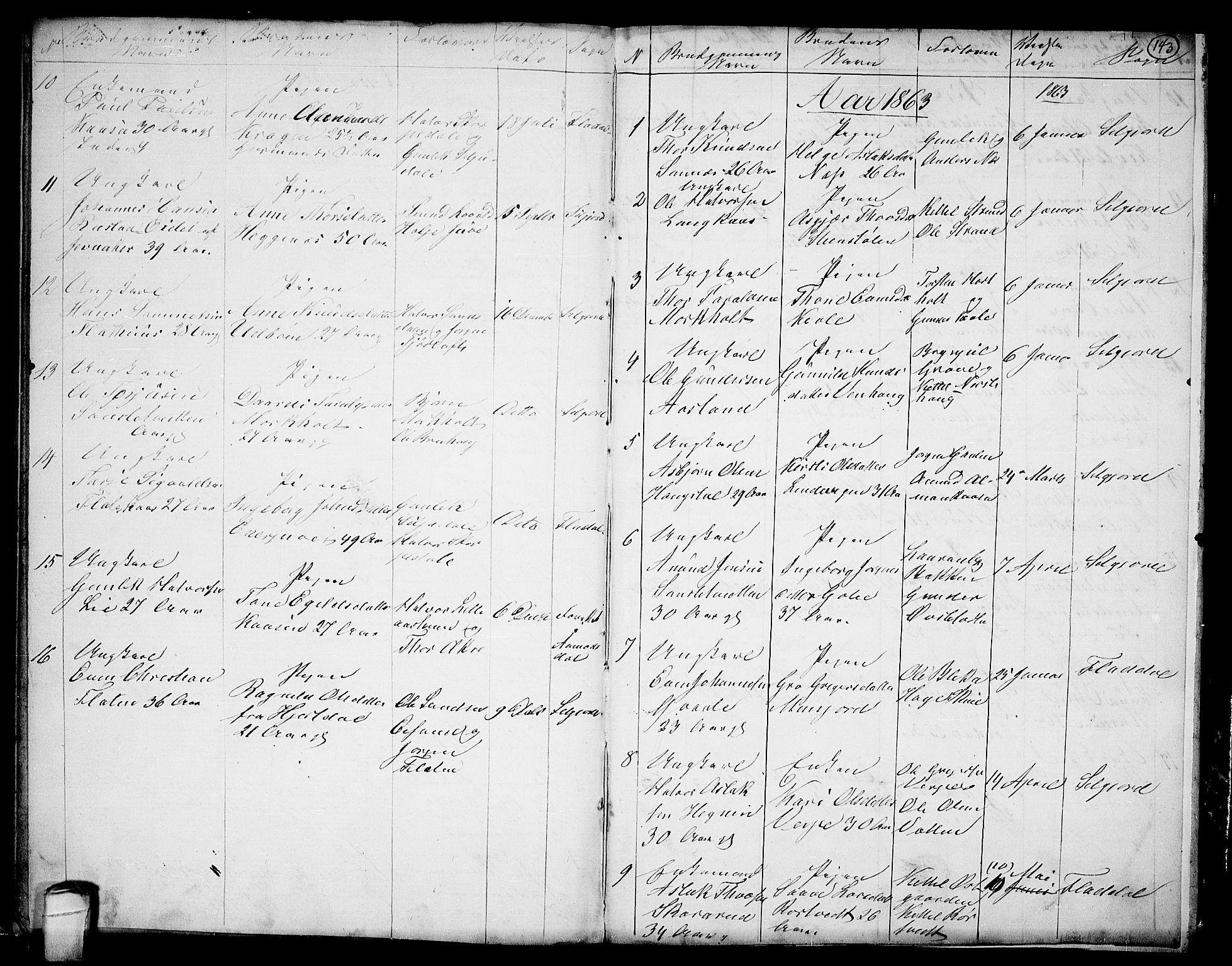 SAKO, Seljord kirkebøker, G/Ga/L0002: Klokkerbok nr. I 2, 1838-1866, s. 143