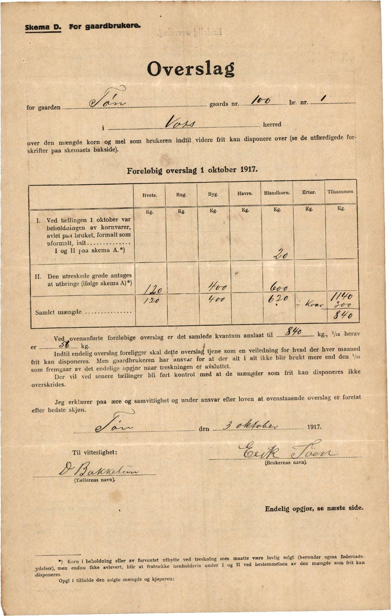 IKAH, Voss kommune. Provianteringsrådet, F/Fa/L0001: Kornteljinga. Oppgåve over gardbrukarar, 1917