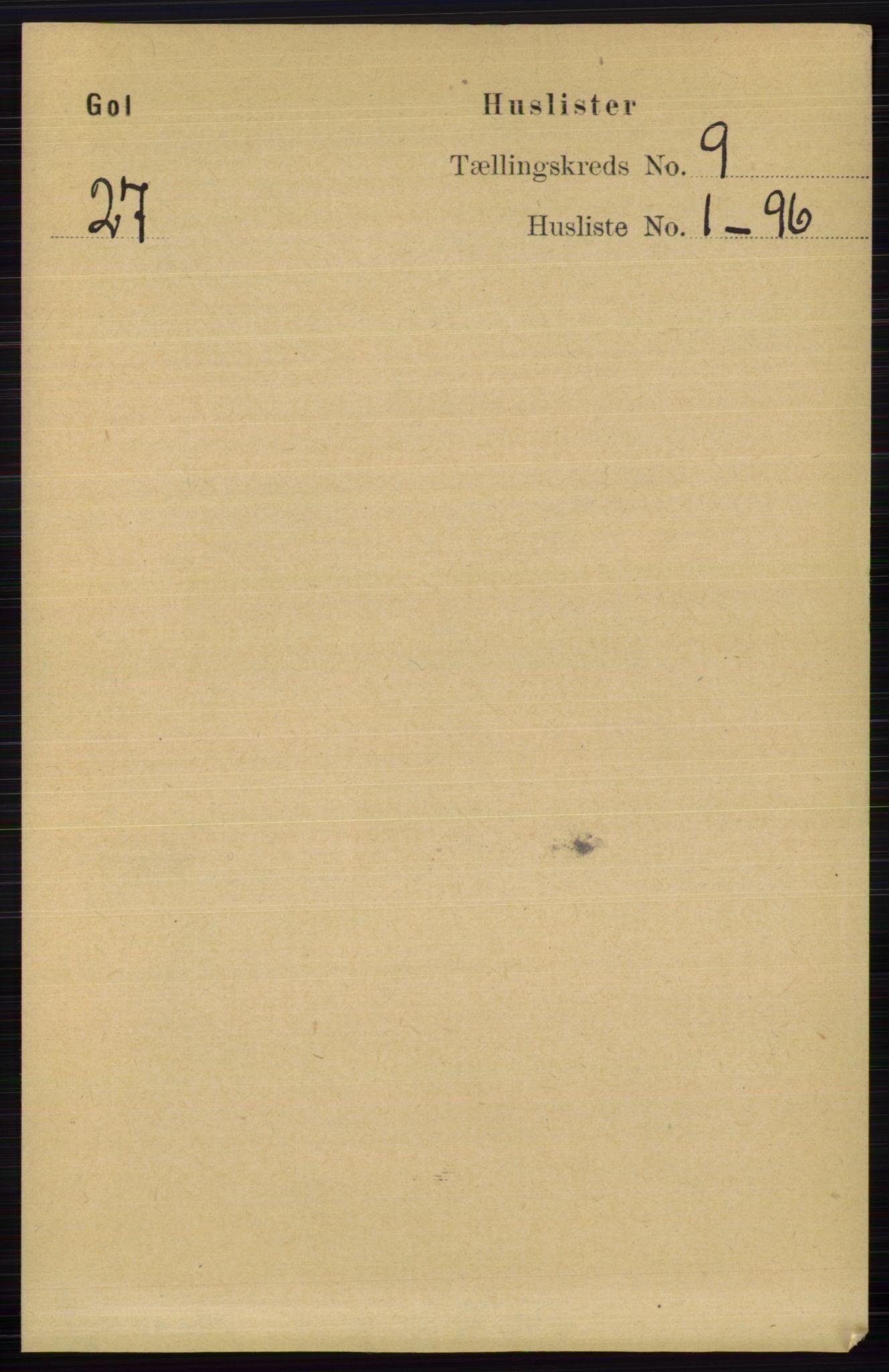RA, Folketelling 1891 for 0617 Gol og Hemsedal herred, 1891, s. 3299