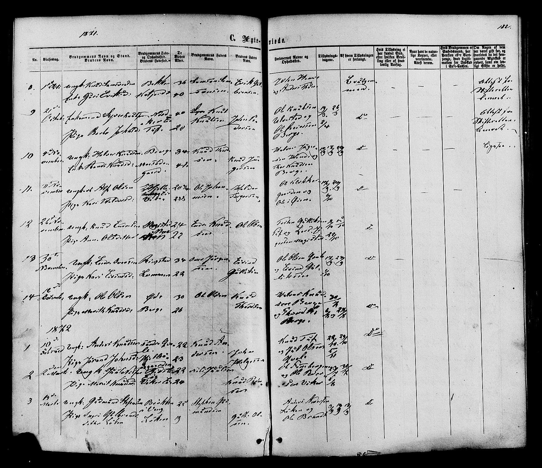 SAH, Vestre Slidre prestekontor, Ministerialbok nr. 3, 1865-1880, s. 182