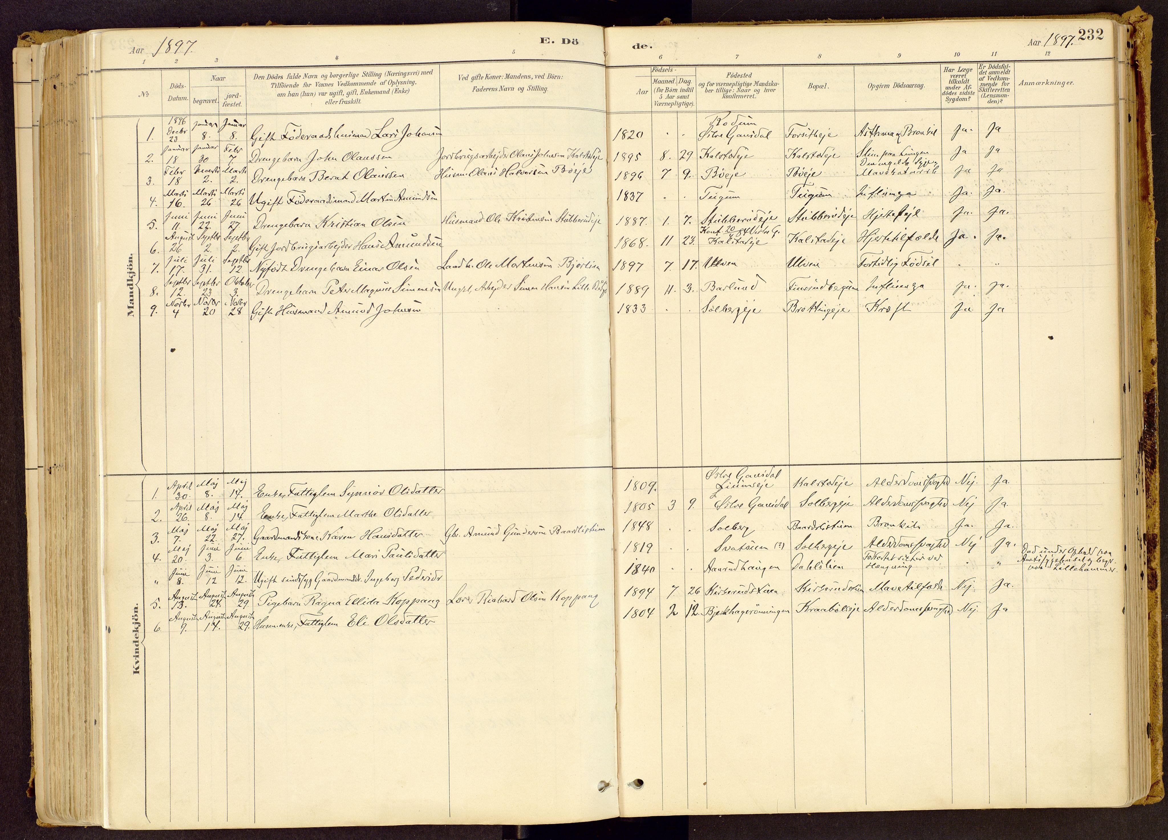 SAH, Vestre Gausdal prestekontor, Ministerialbok nr. 1, 1887-1914, s. 232