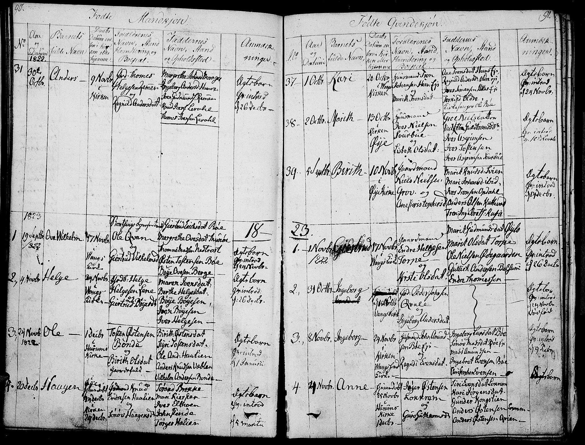 SAH, Vang prestekontor, Valdres, Ministerialbok nr. 3, 1809-1831, s. 90-91