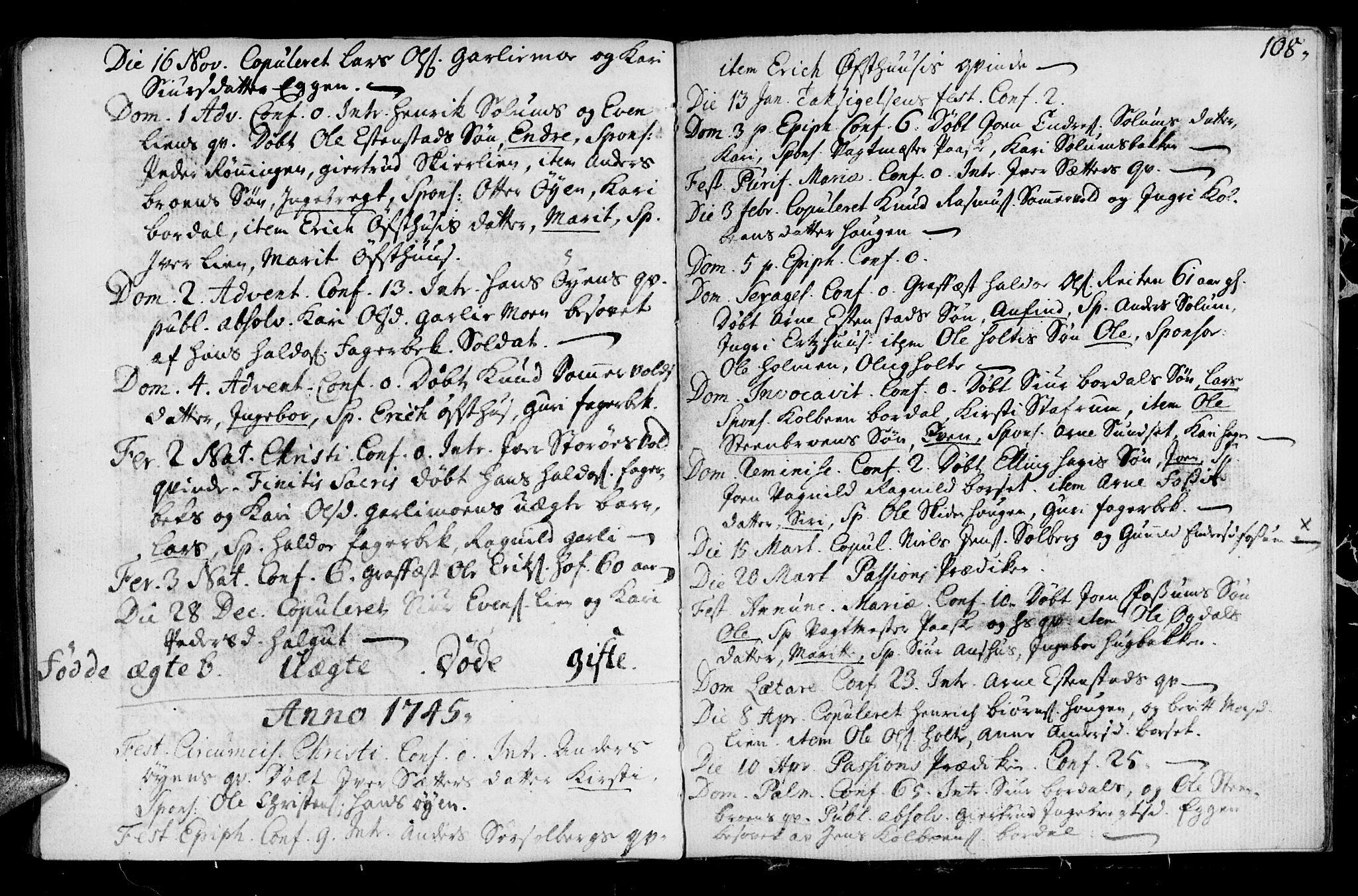 SAT, Ministerialprotokoller, klokkerbøker og fødselsregistre - Sør-Trøndelag, 689/L1036: Ministerialbok nr. 689A01, 1696-1746, s. 108