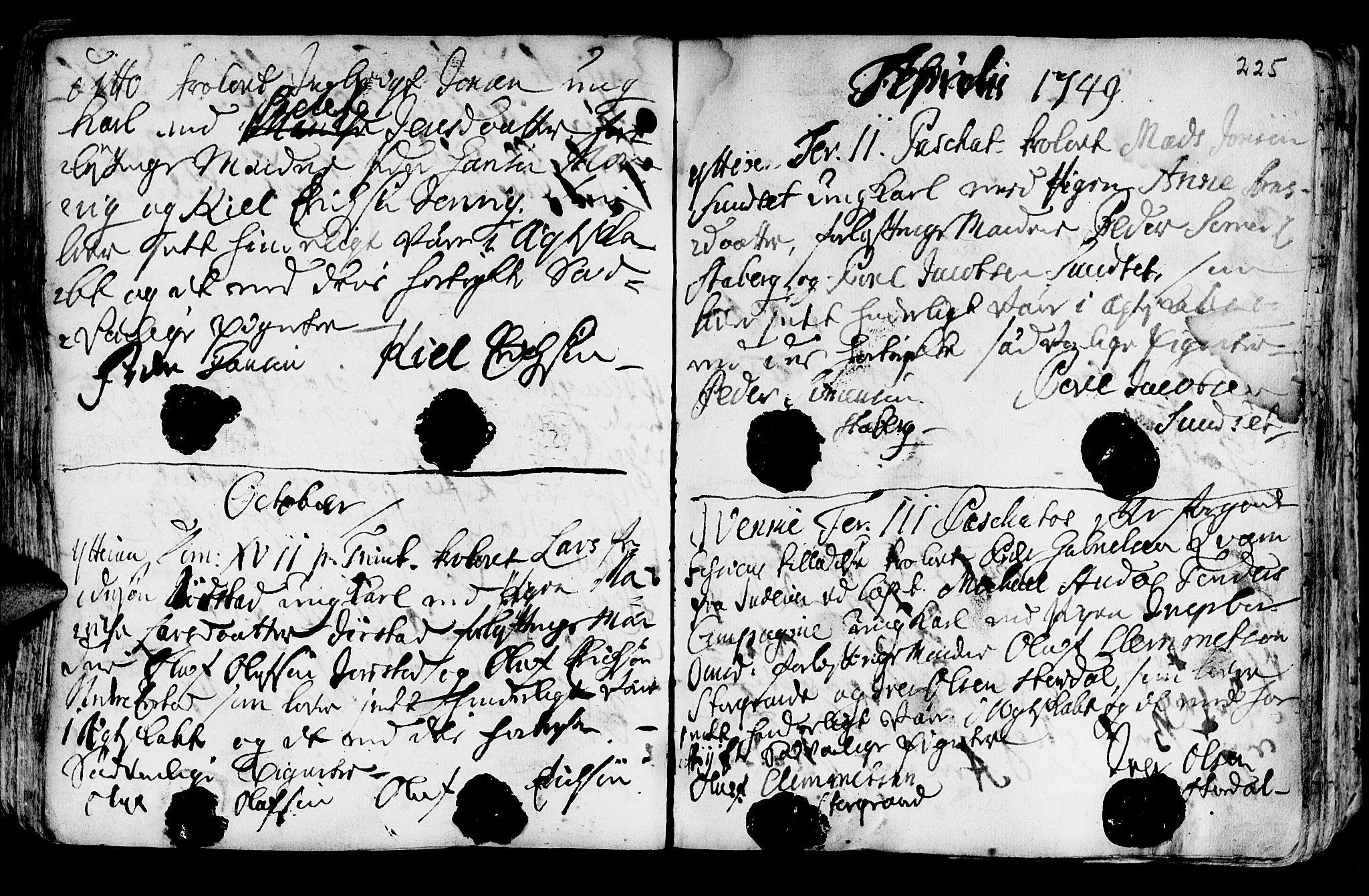 SAT, Ministerialprotokoller, klokkerbøker og fødselsregistre - Nord-Trøndelag, 722/L0215: Ministerialbok nr. 722A02, 1718-1755, s. 225