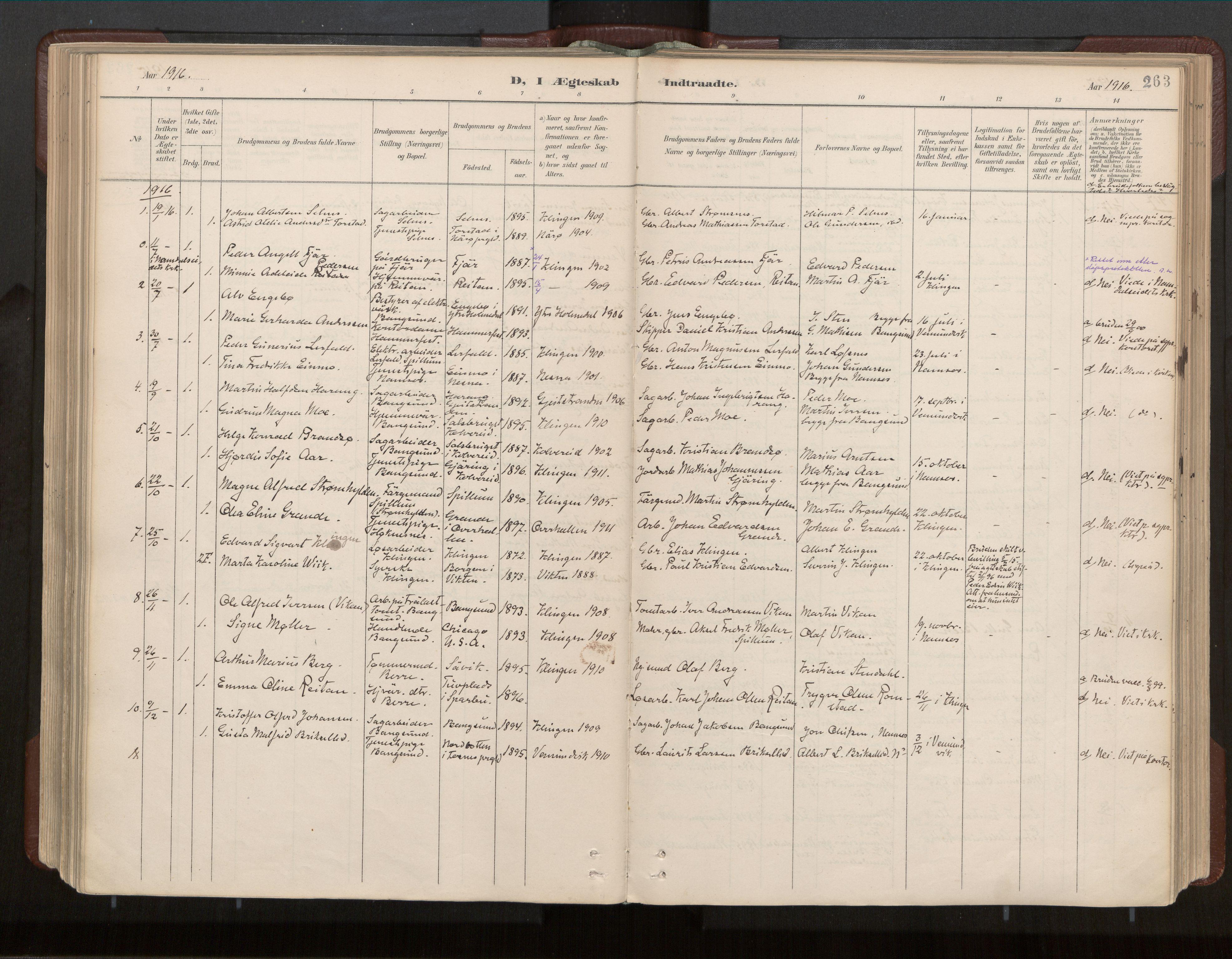 SAT, Ministerialprotokoller, klokkerbøker og fødselsregistre - Nord-Trøndelag, 770/L0589: Ministerialbok nr. 770A03, 1887-1929, s. 263