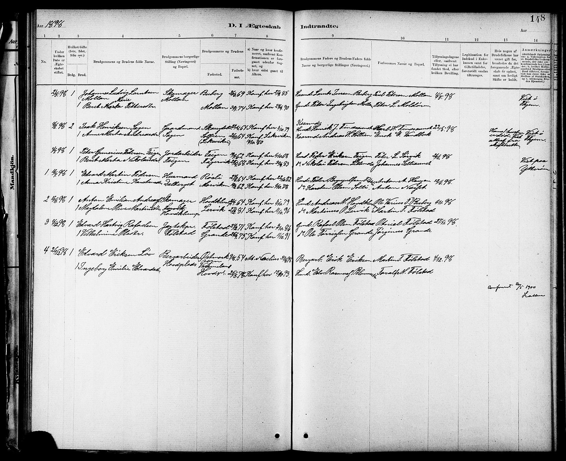 SAT, Ministerialprotokoller, klokkerbøker og fødselsregistre - Nord-Trøndelag, 744/L0423: Klokkerbok nr. 744C02, 1886-1905, s. 148