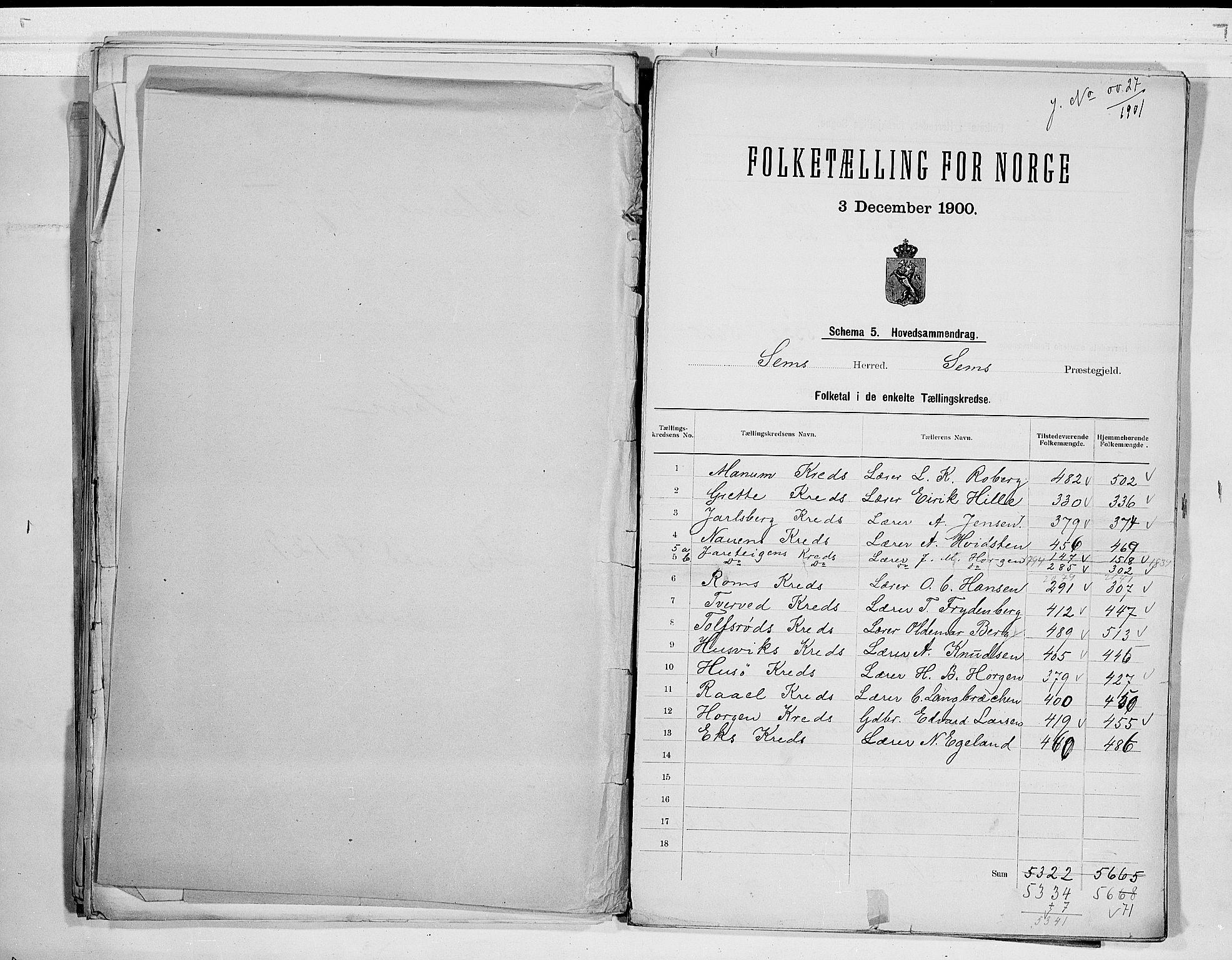 RA, Folketelling 1900 for 0721 Sem herred, 1900, s. 2