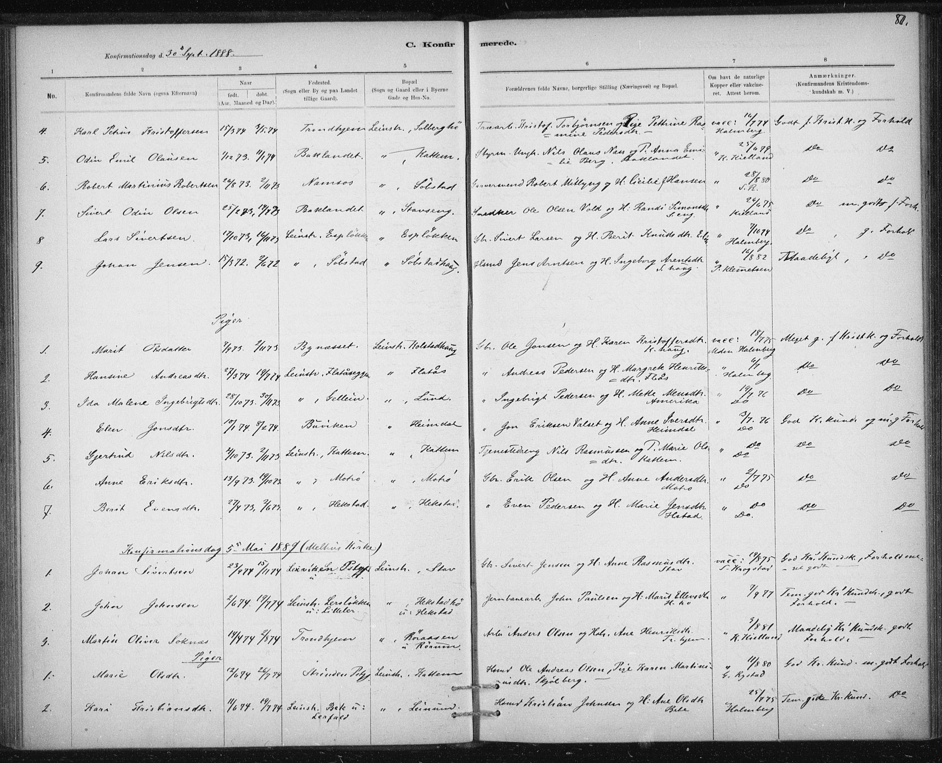SAT, Ministerialprotokoller, klokkerbøker og fødselsregistre - Sør-Trøndelag, 613/L0392: Ministerialbok nr. 613A01, 1887-1906, s. 80