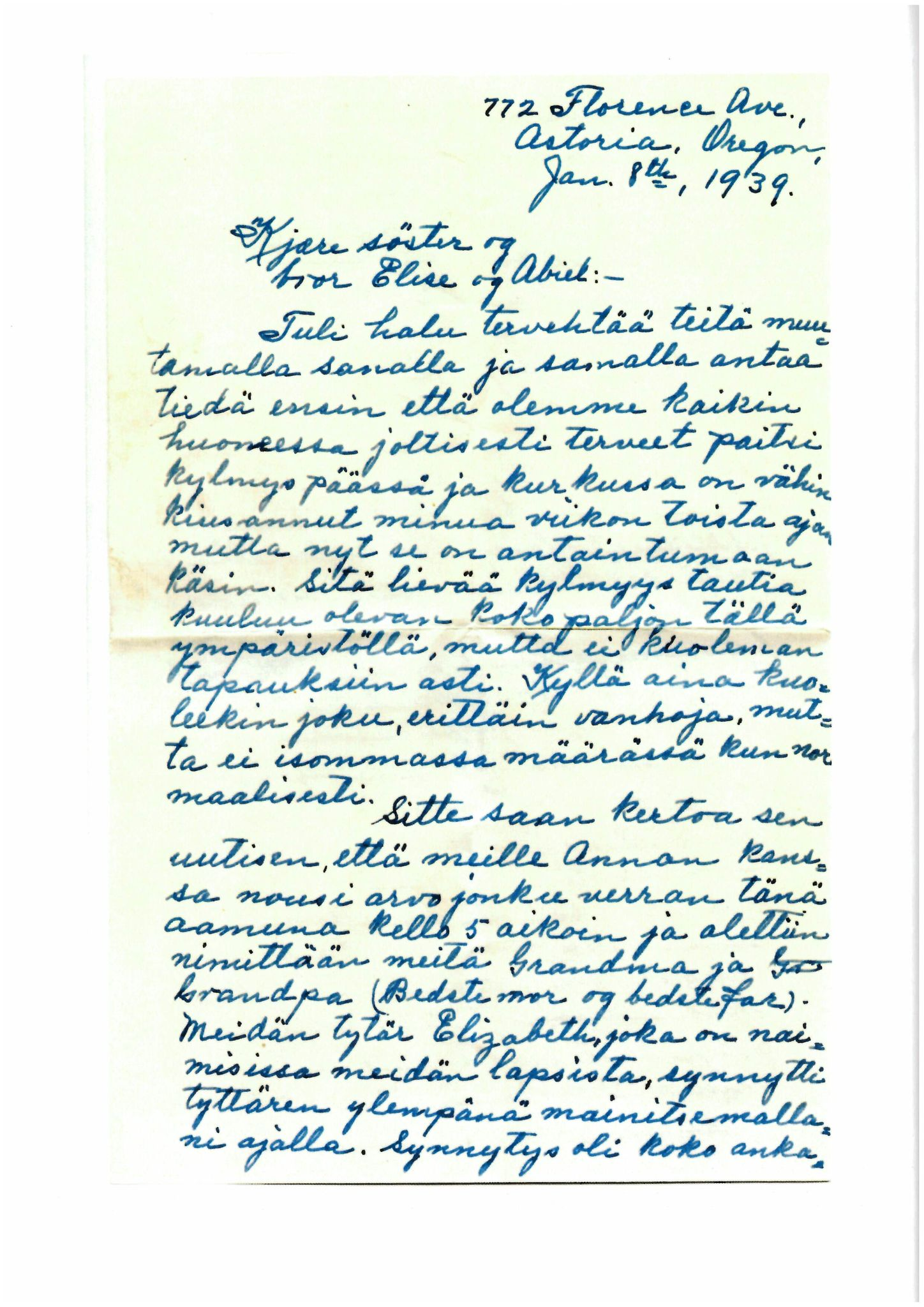 FMFB, Elise Balos brevsamling, F/Fb/L0005:  Brev fra Hans J. Lilleeng til Elise Balo, 1939