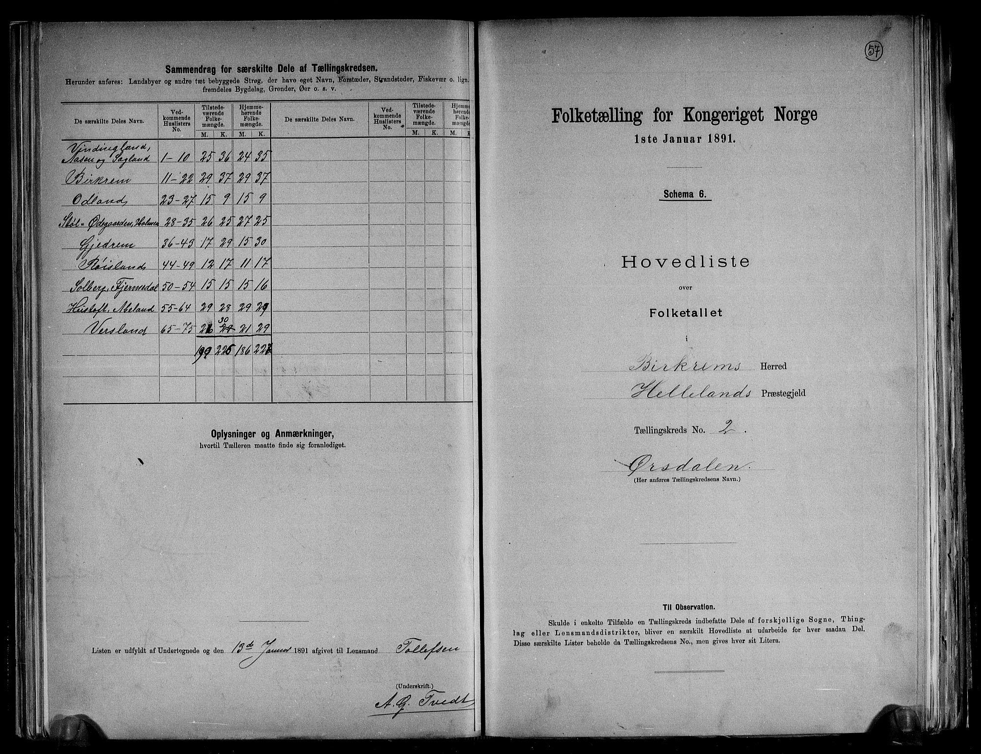RA, Folketelling 1891 for 1114 Bjerkreim herred, 1891, s. 6
