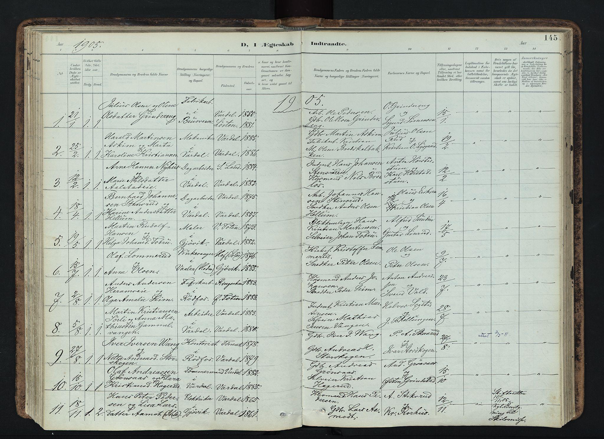 SAH, Vardal prestekontor, H/Ha/Haa/L0019: Ministerialbok nr. 19, 1893-1907, s. 145