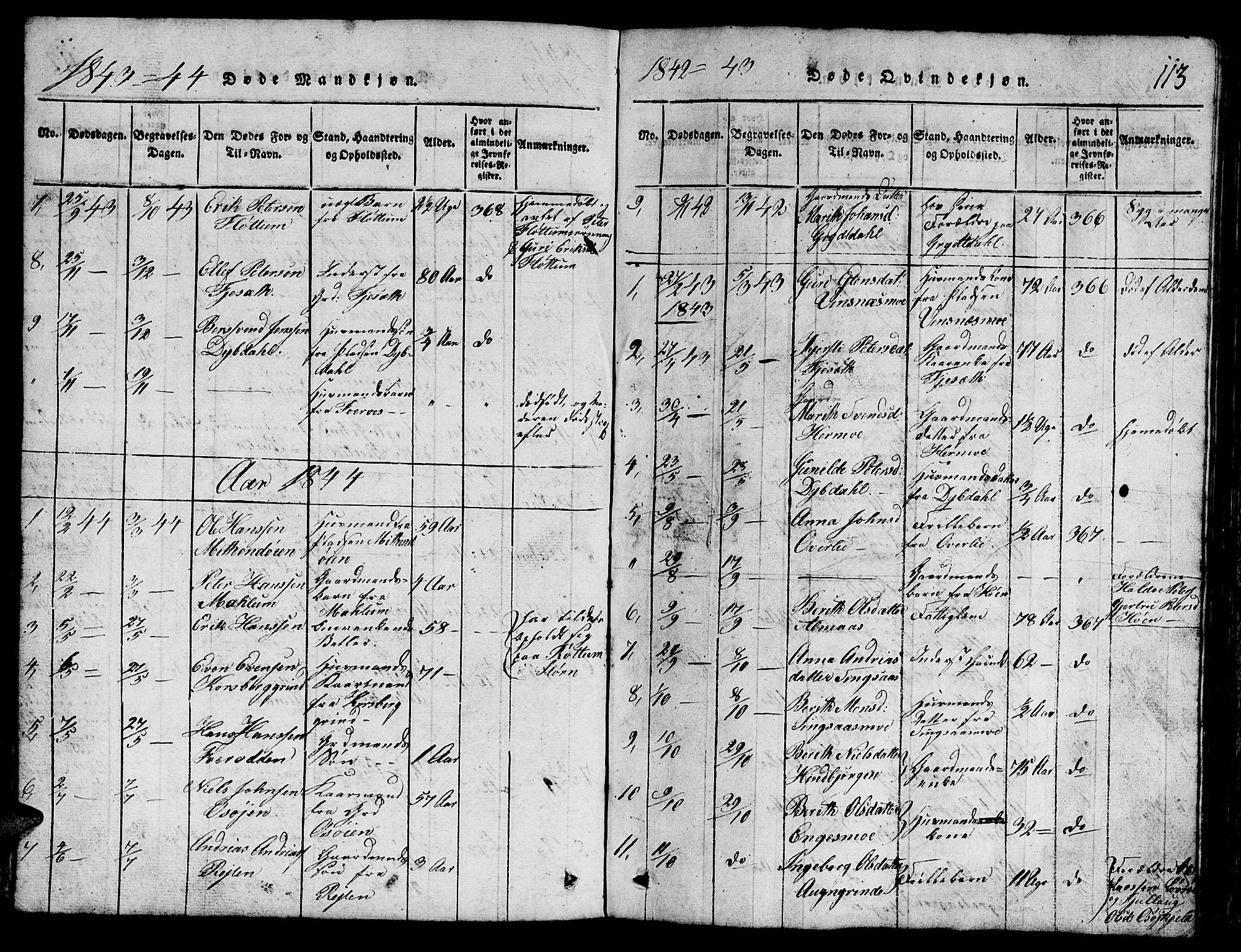 SAT, Ministerialprotokoller, klokkerbøker og fødselsregistre - Sør-Trøndelag, 688/L1026: Klokkerbok nr. 688C01, 1817-1860, s. 113