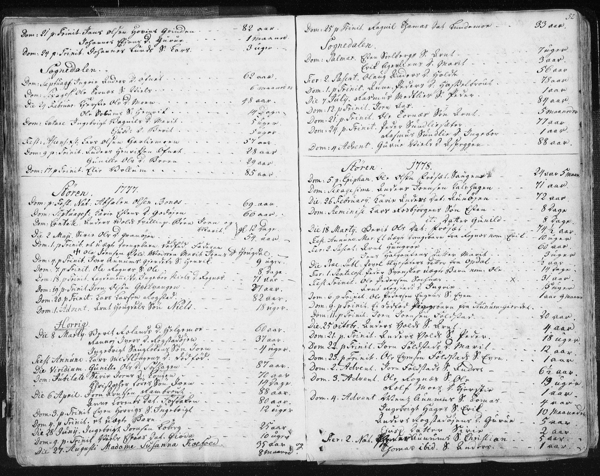 SAT, Ministerialprotokoller, klokkerbøker og fødselsregistre - Sør-Trøndelag, 687/L0991: Ministerialbok nr. 687A02, 1747-1790, s. 52