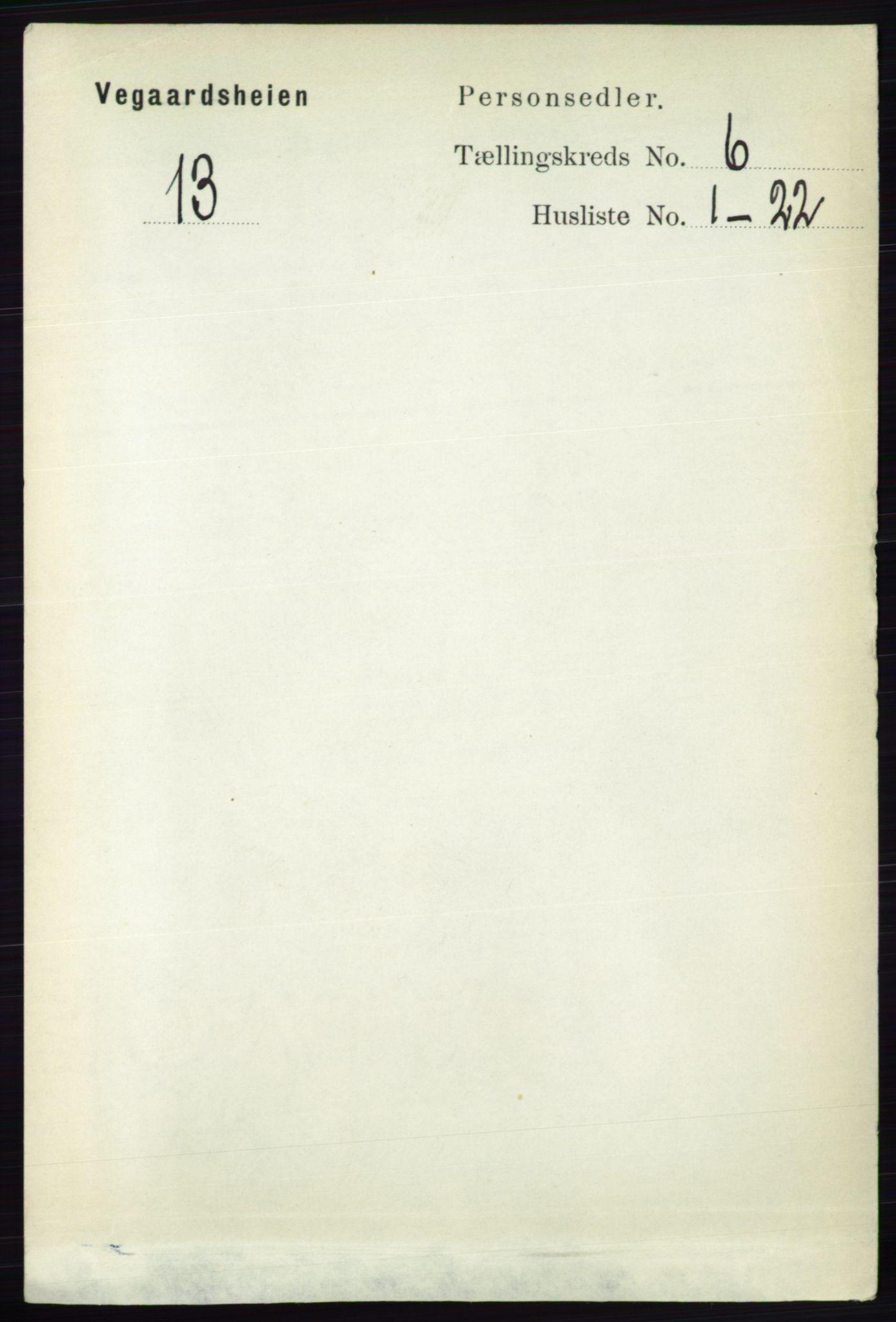 RA, Folketelling 1891 for 0912 Vegårshei herred, 1891, s. 1165