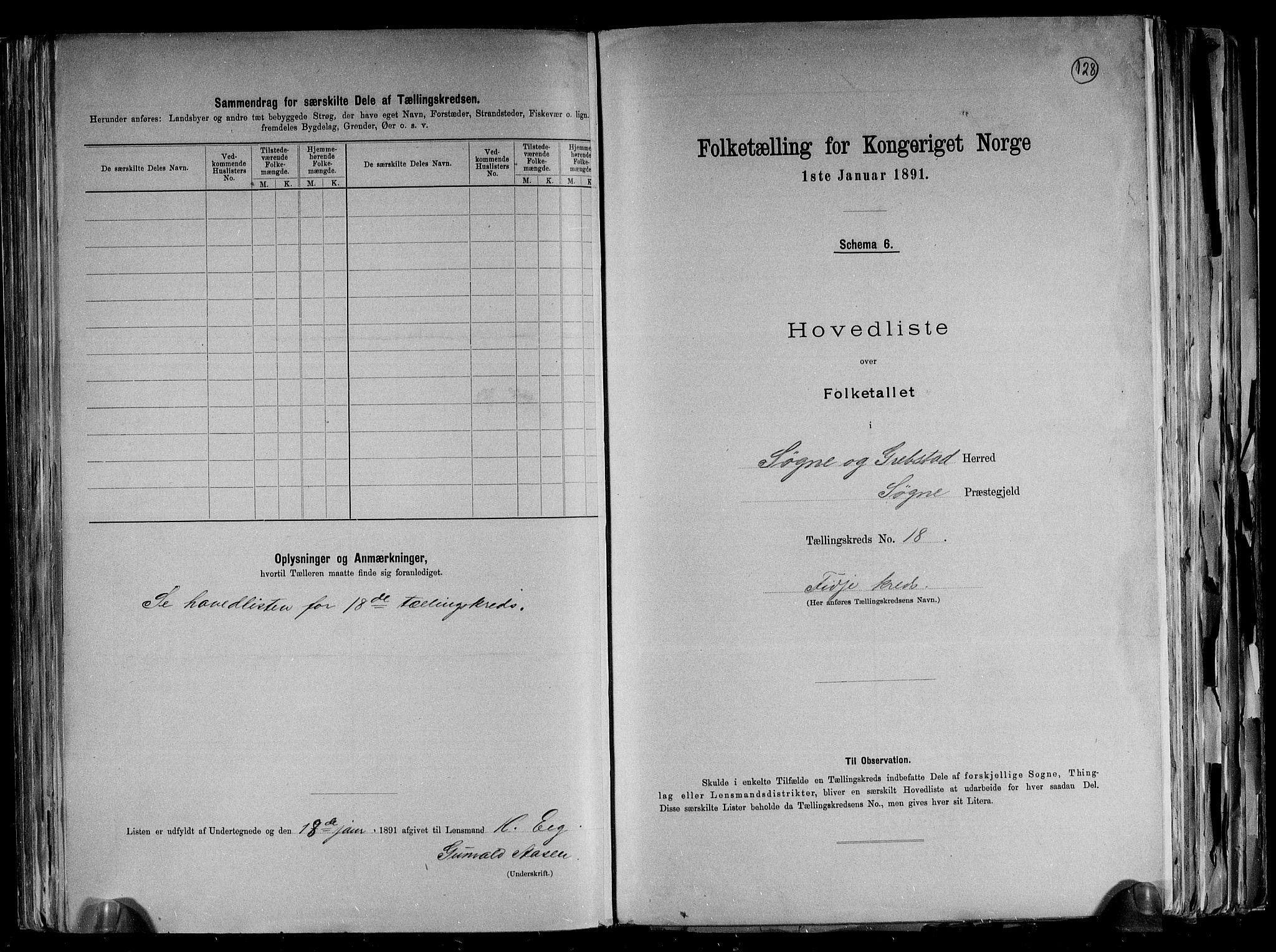 RA, Folketelling 1891 for 1018 Søgne herred, 1891, s. 44