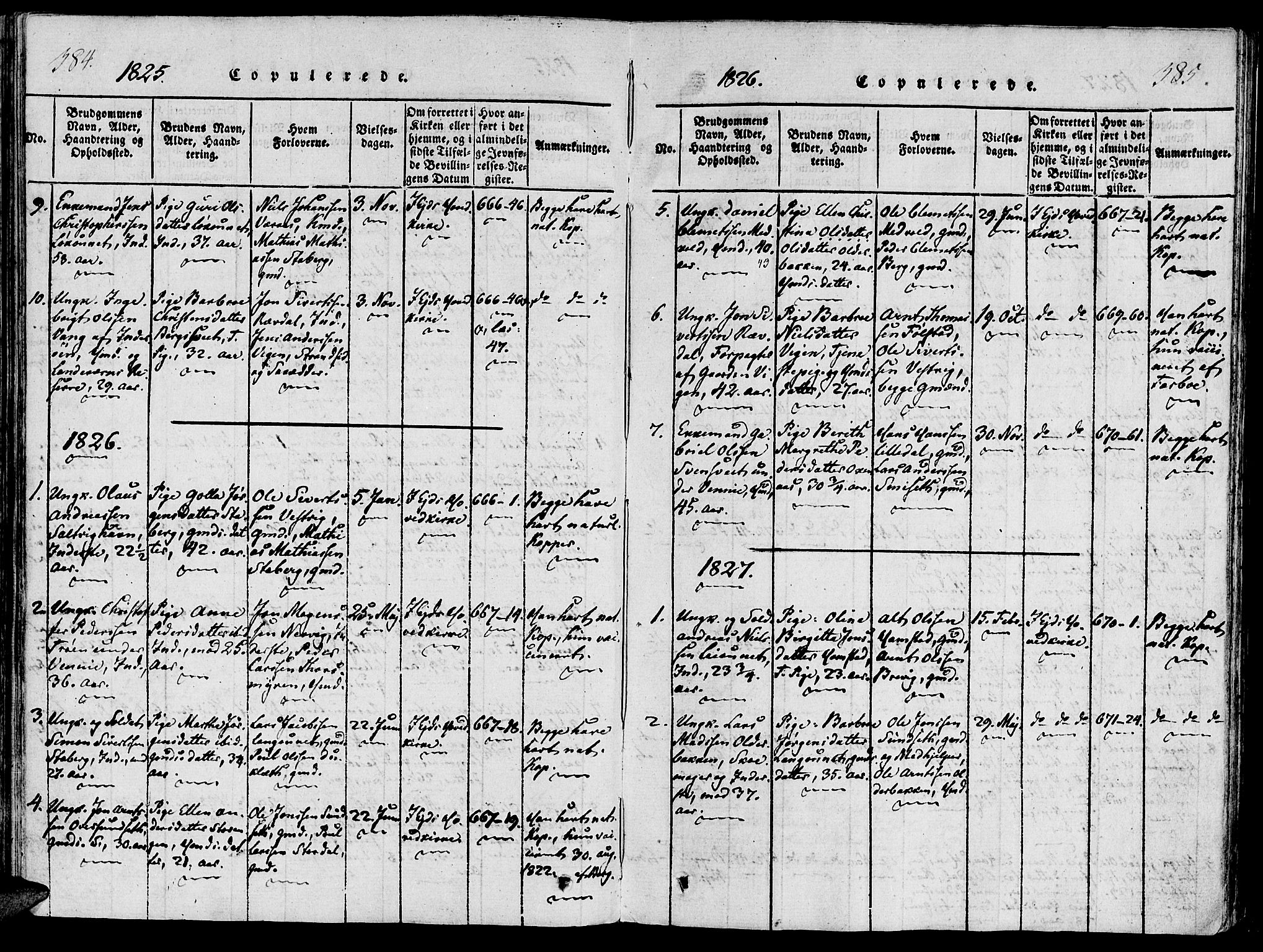 SAT, Ministerialprotokoller, klokkerbøker og fødselsregistre - Nord-Trøndelag, 733/L0322: Ministerialbok nr. 733A01, 1817-1842, s. 384-385