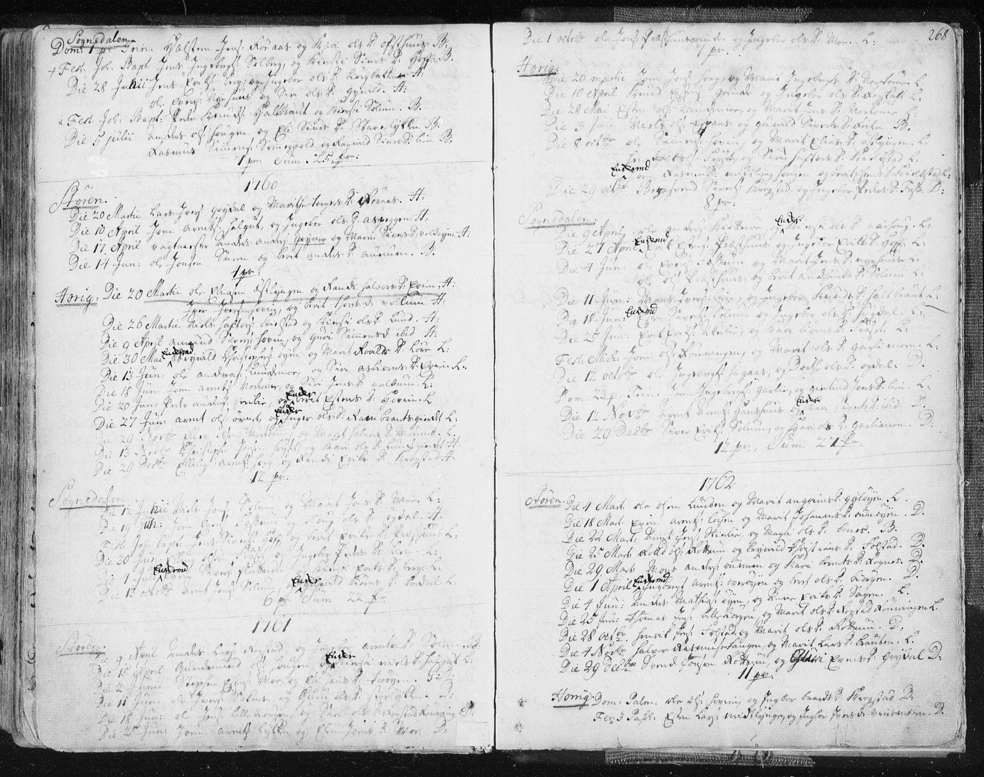 SAT, Ministerialprotokoller, klokkerbøker og fødselsregistre - Sør-Trøndelag, 687/L0991: Ministerialbok nr. 687A02, 1747-1790, s. 268