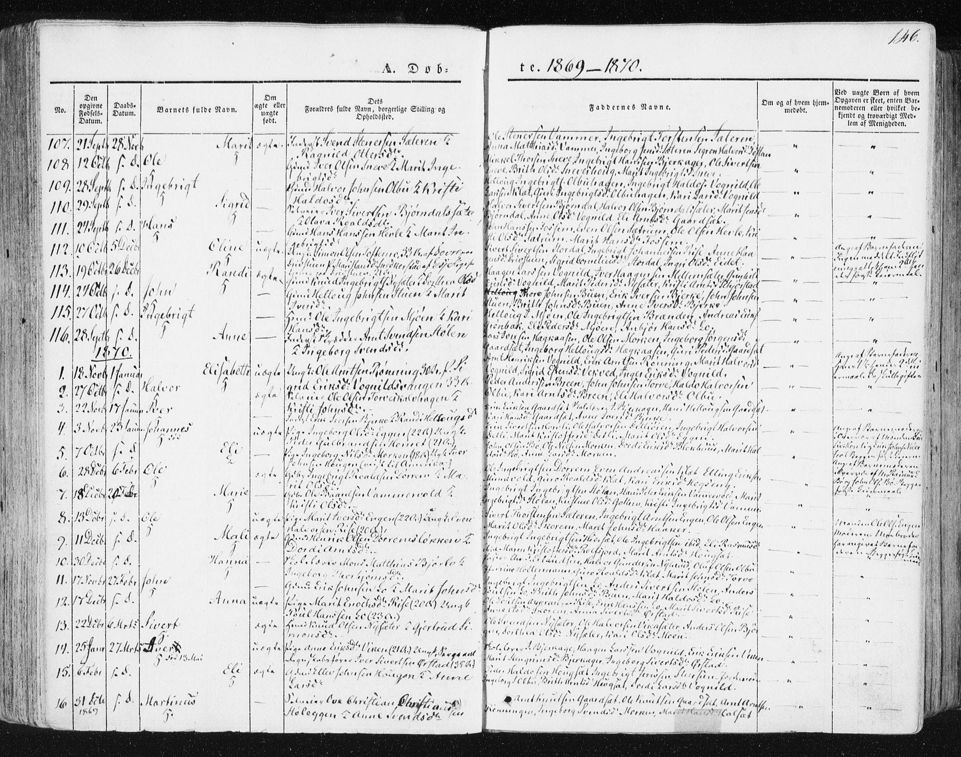 SAT, Ministerialprotokoller, klokkerbøker og fødselsregistre - Sør-Trøndelag, 678/L0899: Ministerialbok nr. 678A08, 1848-1872, s. 146