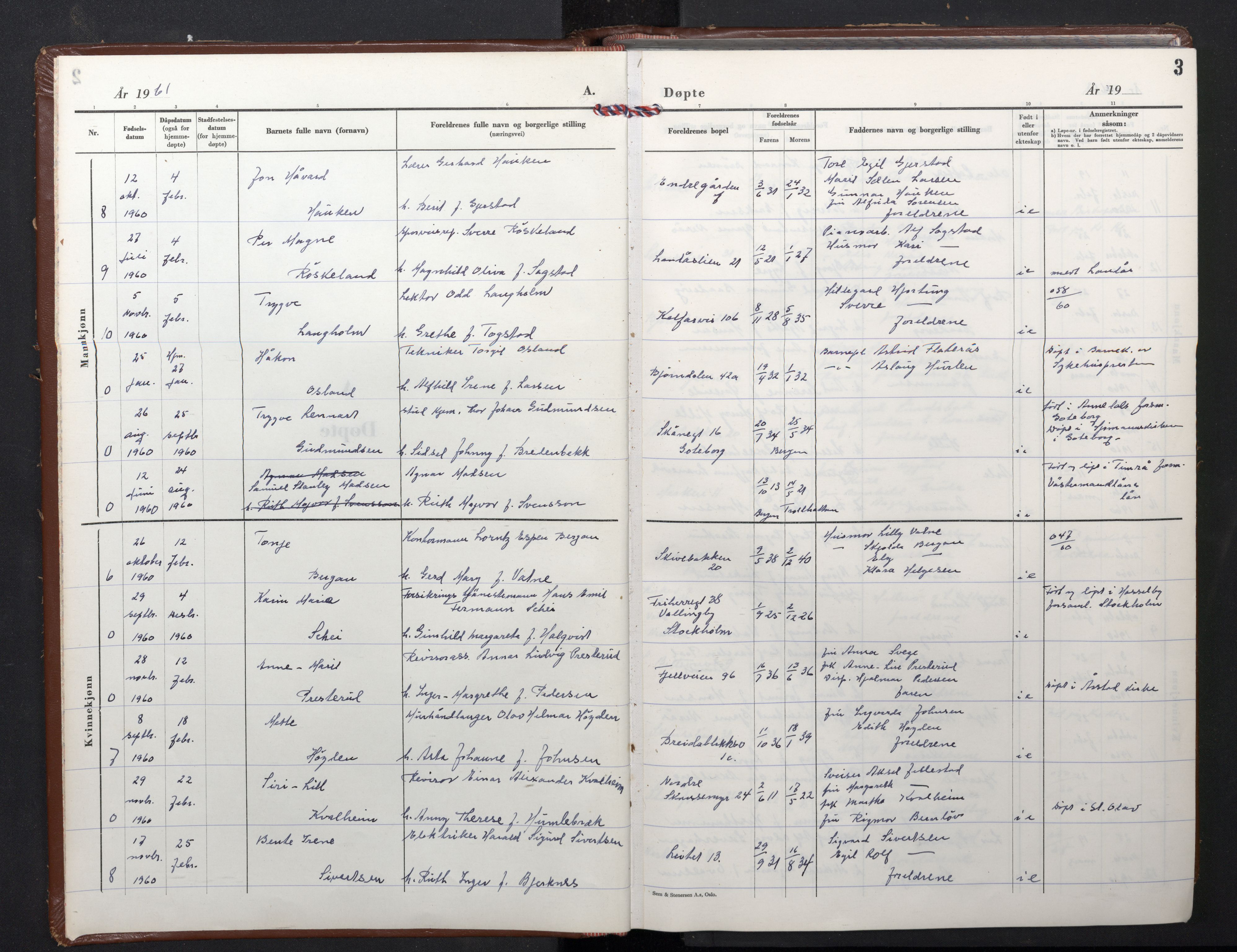 SAB, Domkirken Sokneprestembete, H/Hab/L0020: Klokkerbok nr. B 13, 1961-1966, s. 3