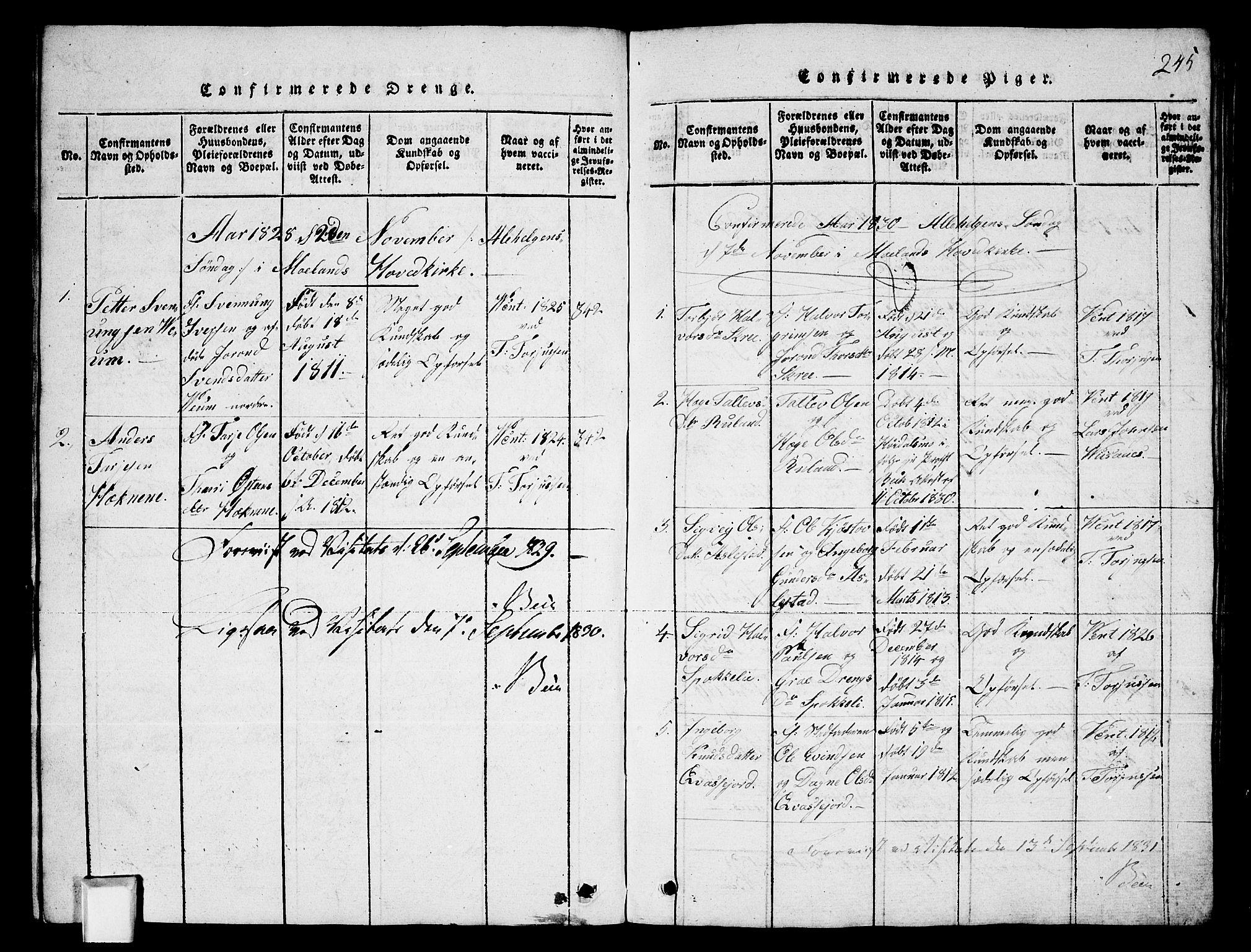 SAKO, Fyresdal kirkebøker, G/Ga/L0003: Klokkerbok nr. I 3, 1815-1863, s. 245