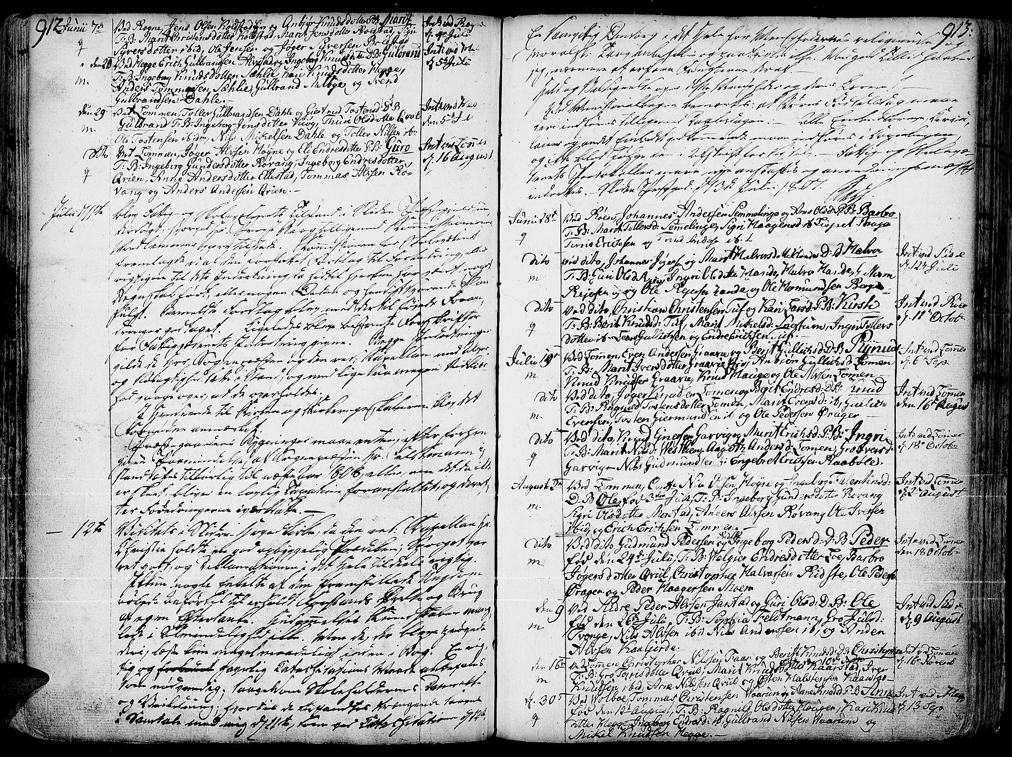 SAH, Slidre prestekontor, Ministerialbok nr. 1, 1724-1814, s. 912-913