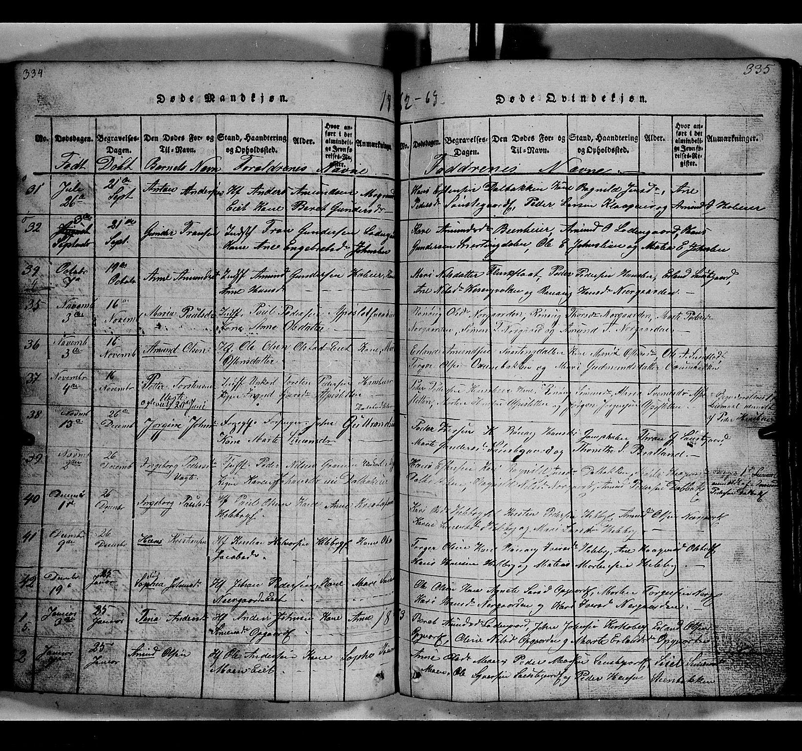 SAH, Gausdal prestekontor, Klokkerbok nr. 2, 1818-1874, s. 334-335