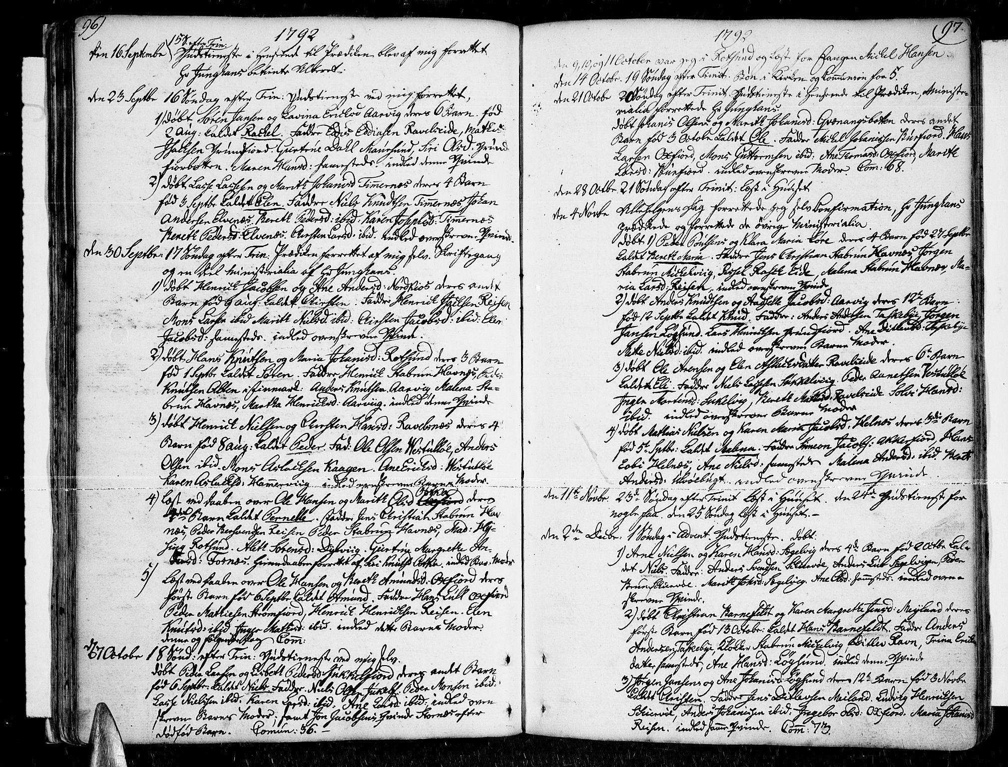 SATØ, Skjervøy sokneprestkontor, H/Ha/Haa/L0002kirke: Ministerialbok nr. 2, 1781-1817, s. 96-97