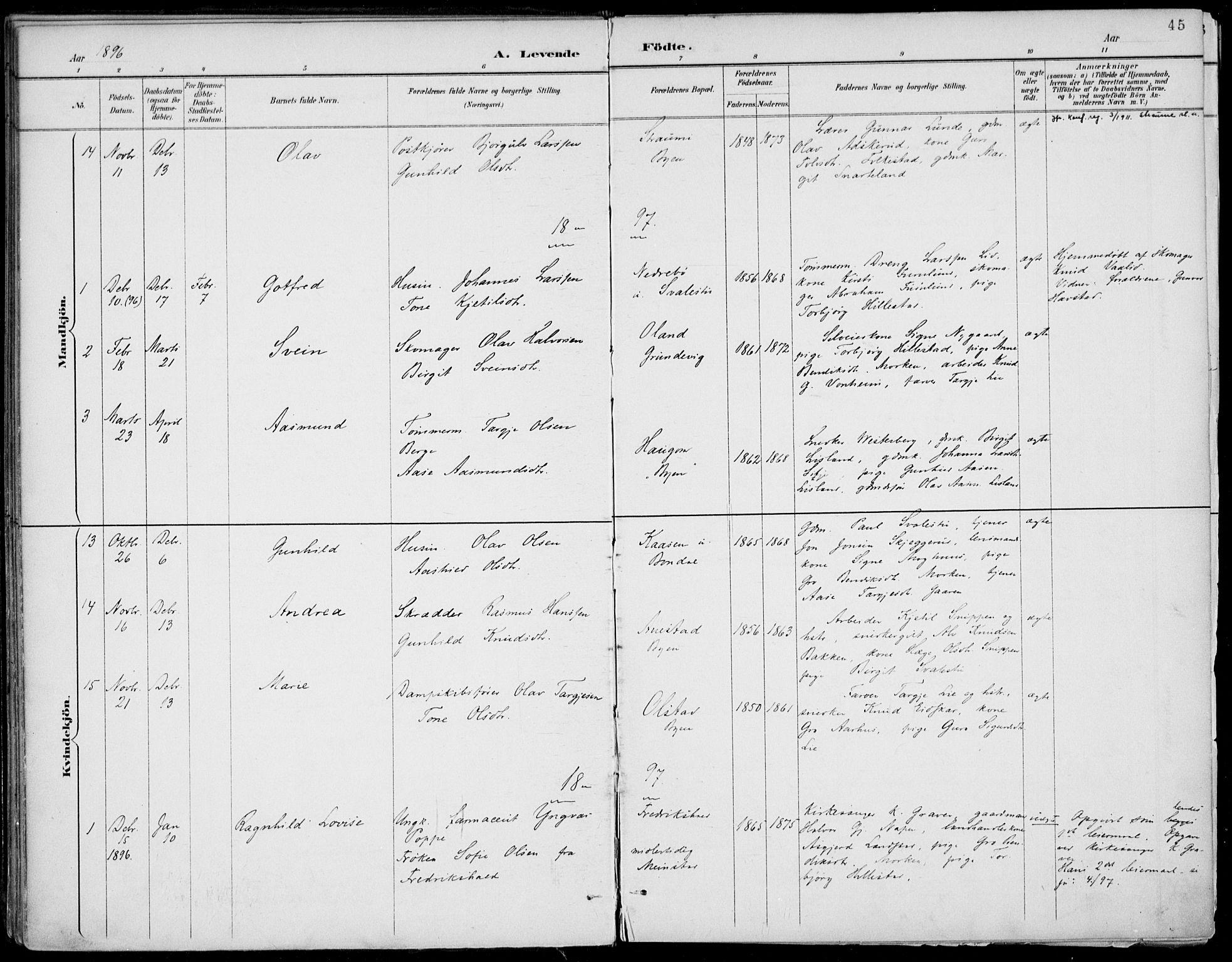 SAKO, Fyresdal kirkebøker, F/Fa/L0007: Ministerialbok nr. I 7, 1887-1914, s. 45
