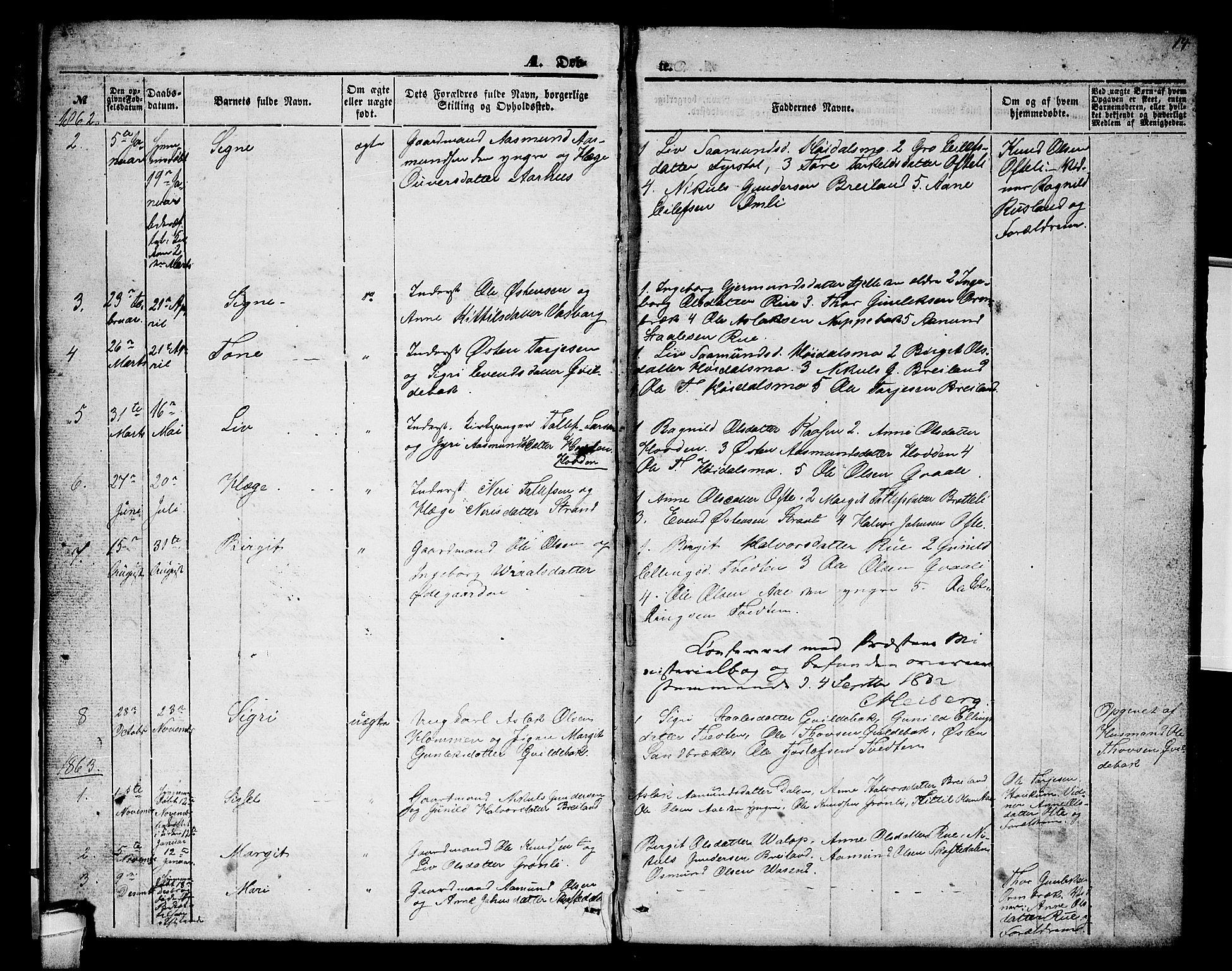 SAKO, Lårdal kirkebøker, G/Gc/L0002: Klokkerbok nr. III 2, 1852-1877, s. 14