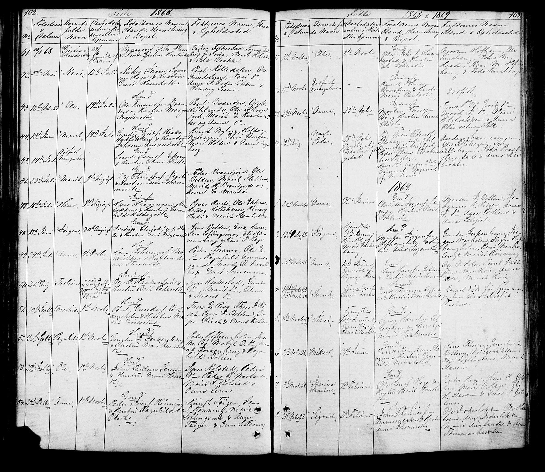 SAH, Lesja prestekontor, Klokkerbok nr. 5, 1850-1894, s. 102-103