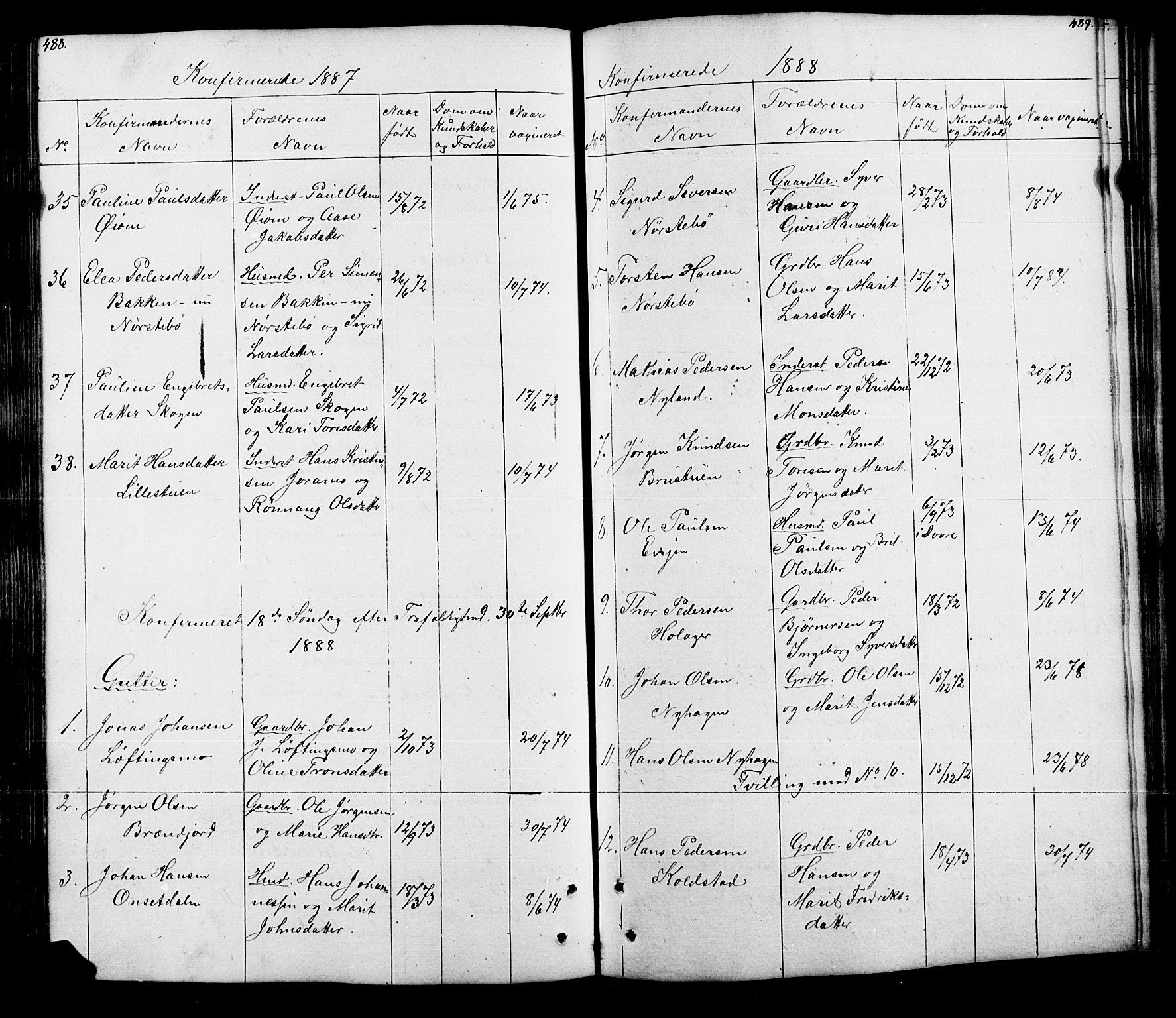 SAH, Lesja prestekontor, Klokkerbok nr. 5, 1850-1894, s. 488-489