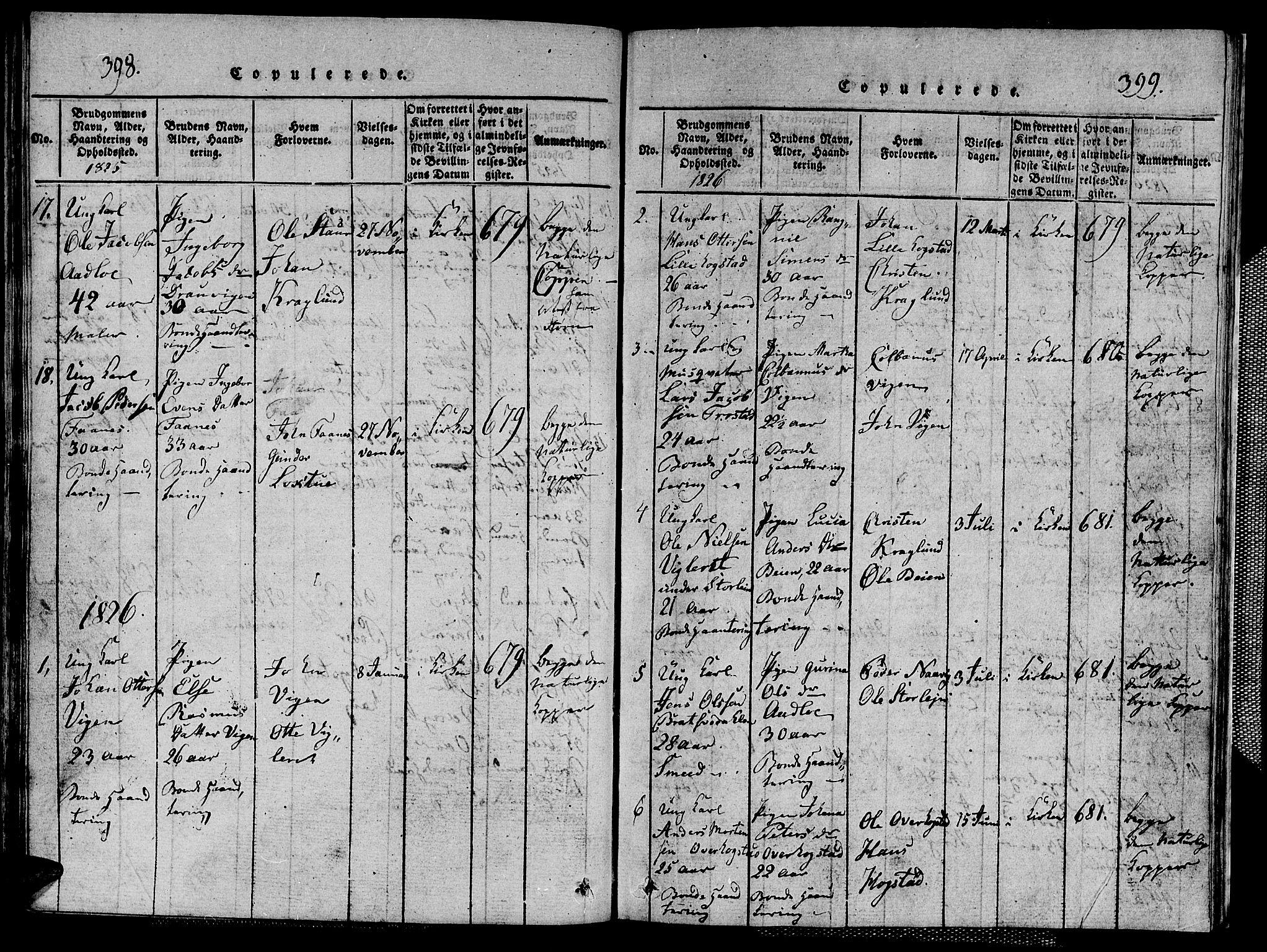 SAT, Ministerialprotokoller, klokkerbøker og fødselsregistre - Nord-Trøndelag, 713/L0124: Klokkerbok nr. 713C01, 1817-1827, s. 398-399