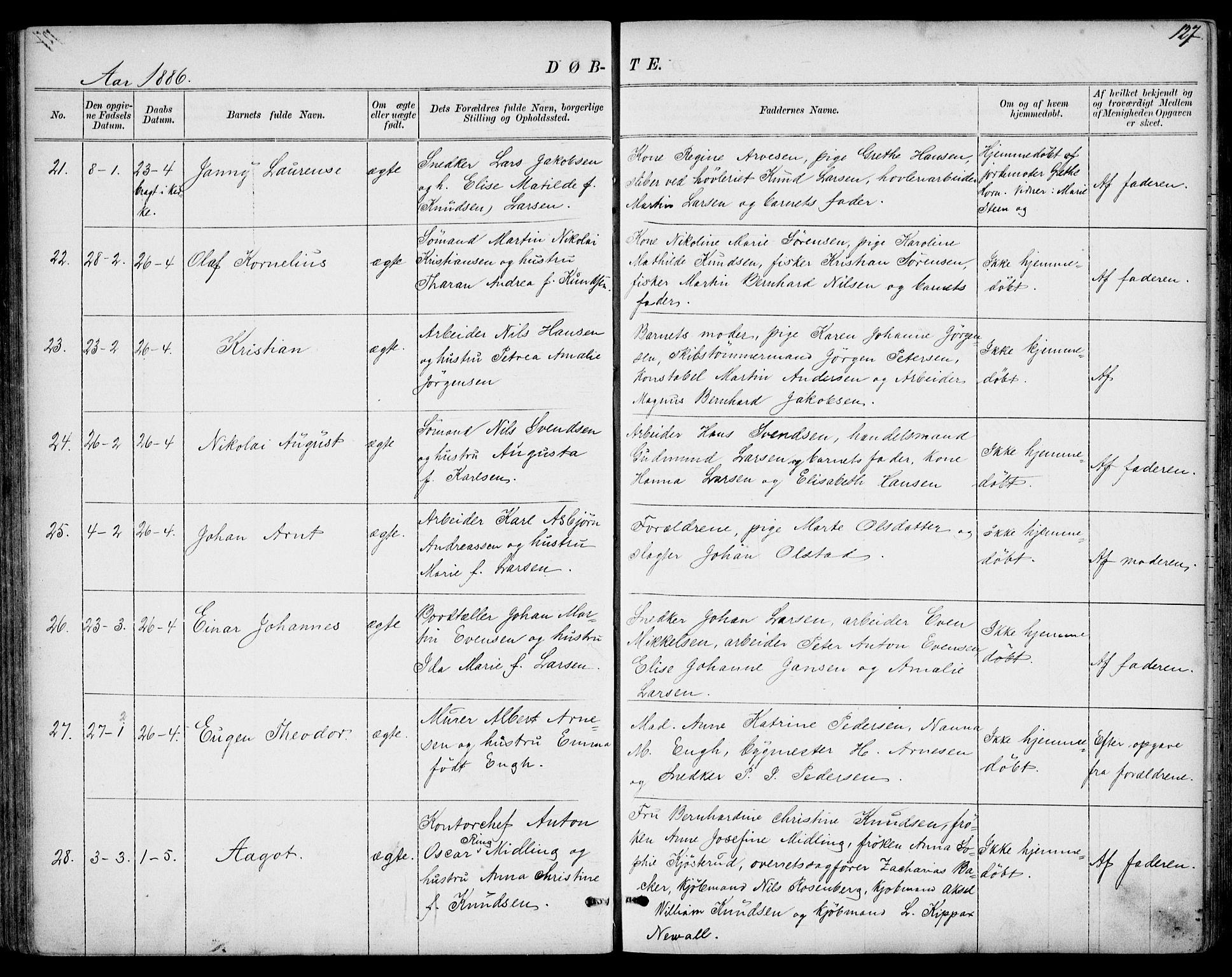 SAKO, Larvik kirkebøker, G/Gb/L0003: Klokkerbok nr. II 3, 1867-1899, s. 127