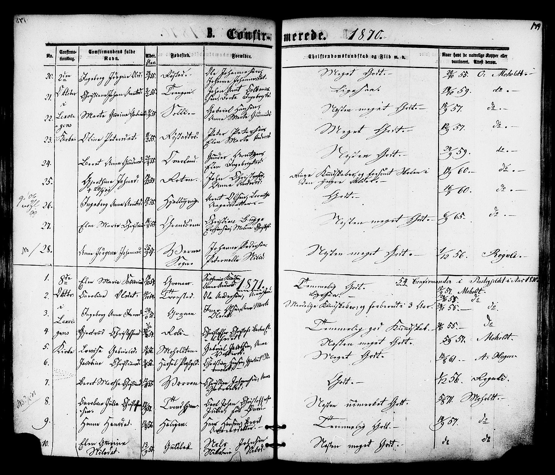 SAT, Ministerialprotokoller, klokkerbøker og fødselsregistre - Nord-Trøndelag, 701/L0009: Ministerialbok nr. 701A09 /1, 1864-1882, s. 179