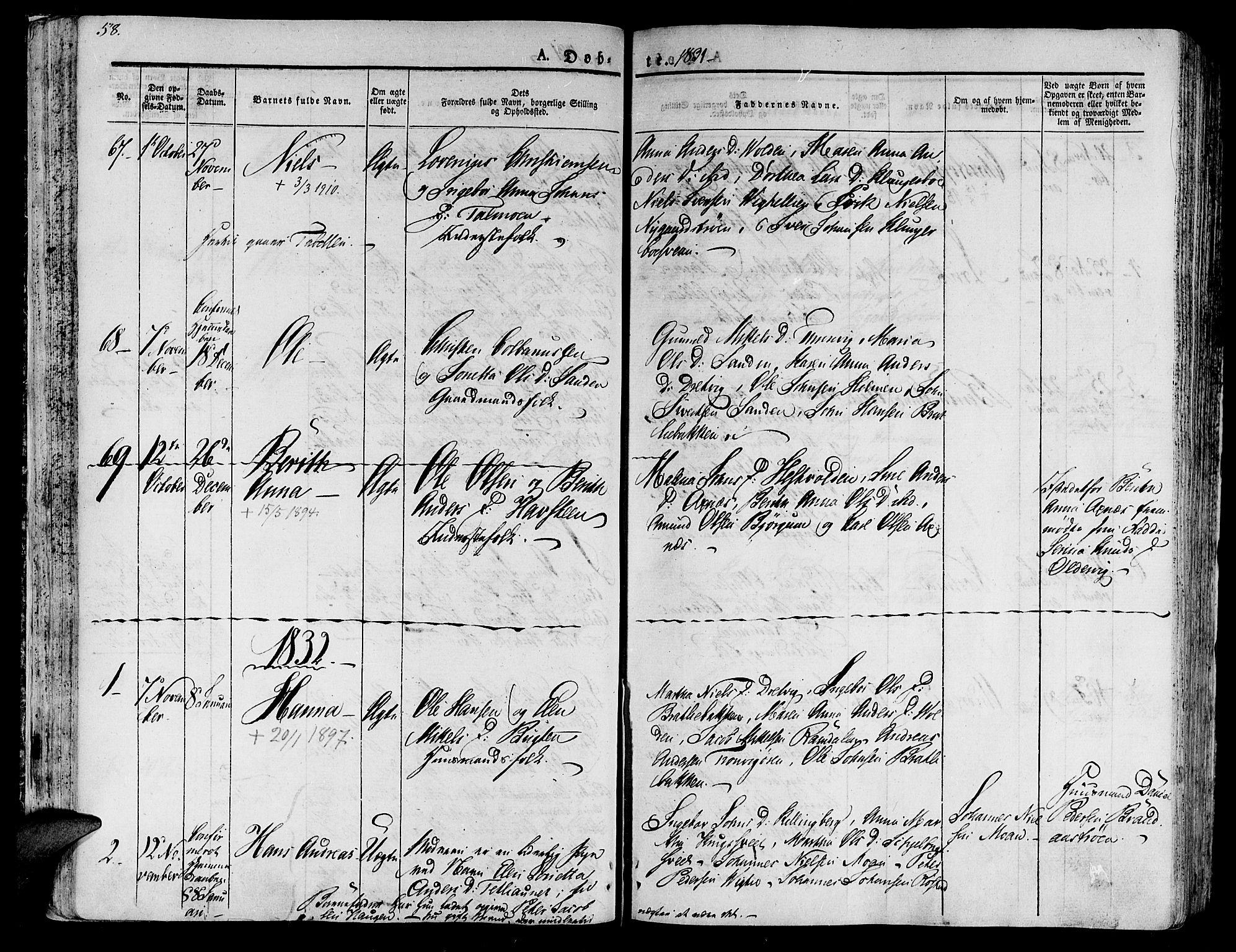 SAT, Ministerialprotokoller, klokkerbøker og fødselsregistre - Nord-Trøndelag, 701/L0006: Ministerialbok nr. 701A06, 1825-1841, s. 58