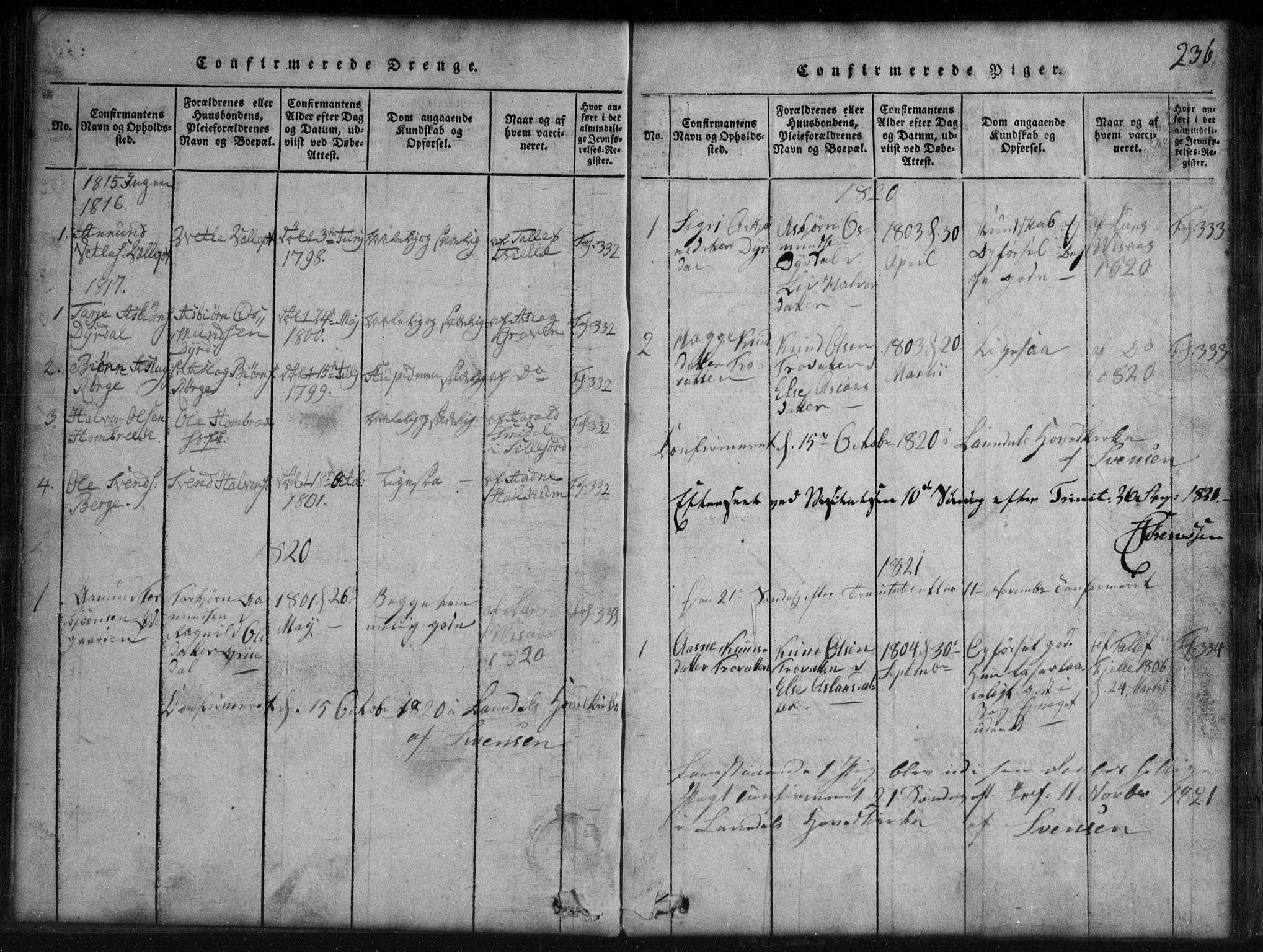 SAKO, Rauland kirkebøker, G/Gb/L0001: Klokkerbok nr. II 1, 1815-1886, s. 236