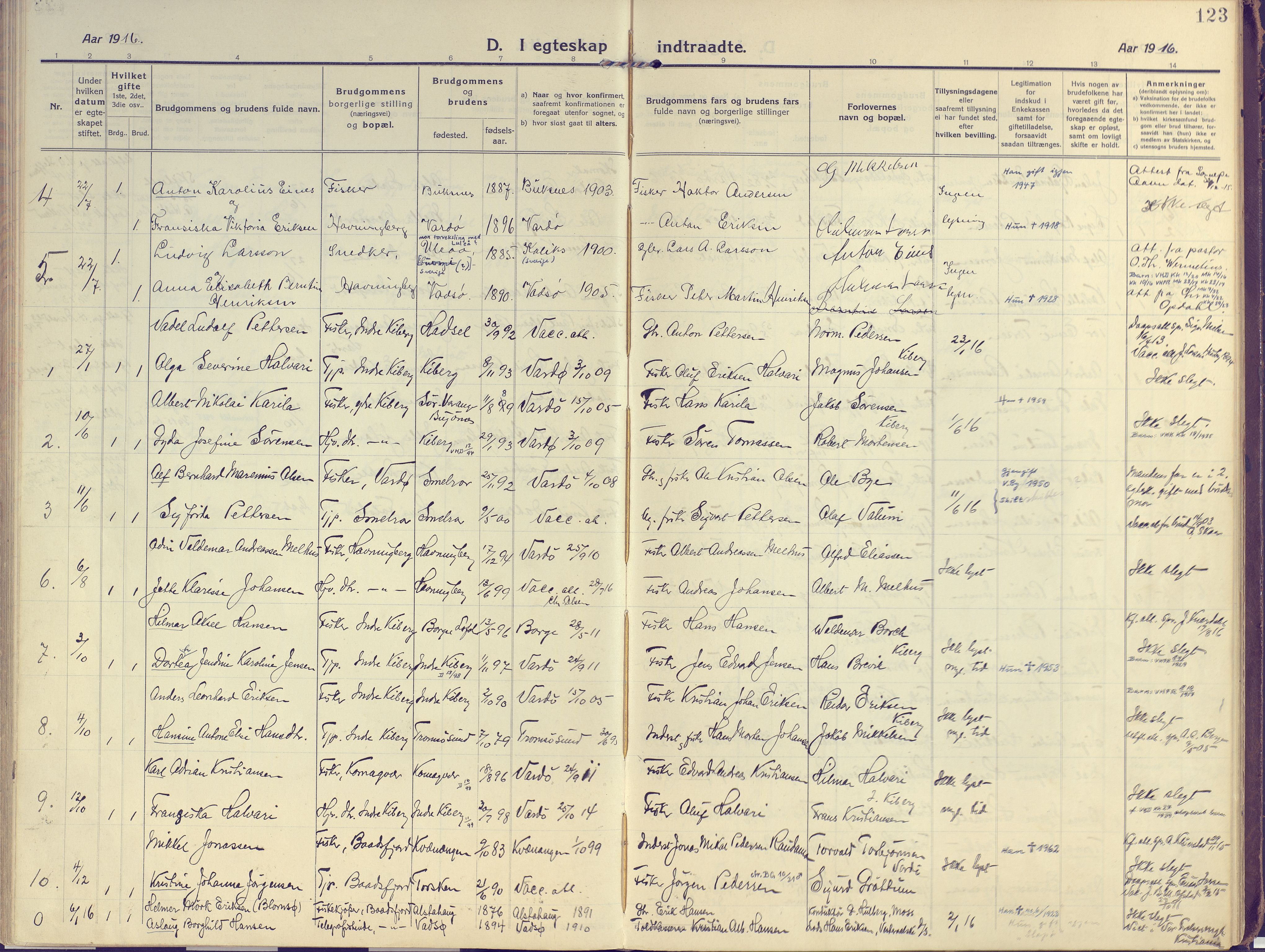 SATØ, Vardø sokneprestkontor, H/Ha/L0013kirke: Ministerialbok nr. 13, 1912-1928, s. 123