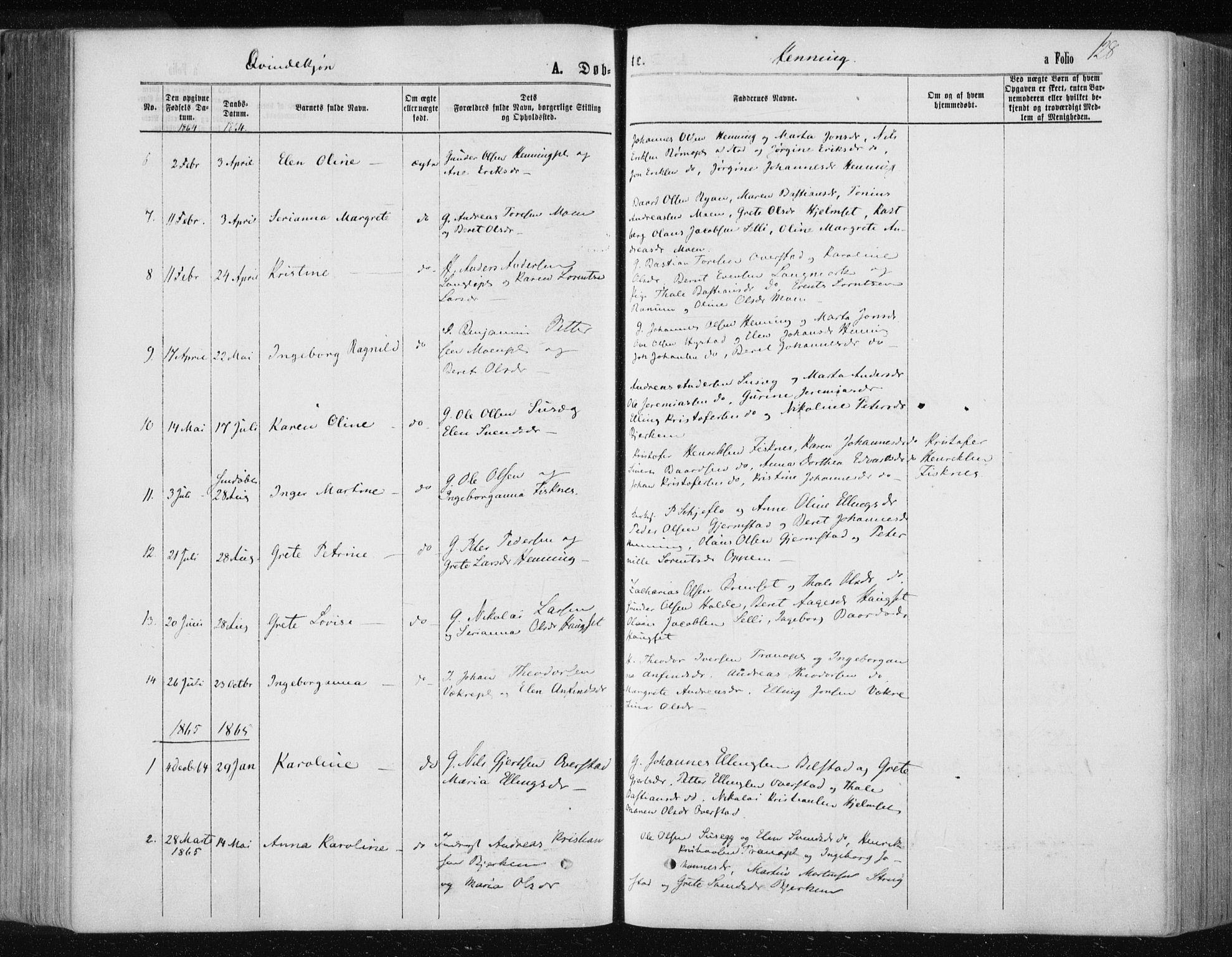 SAT, Ministerialprotokoller, klokkerbøker og fødselsregistre - Nord-Trøndelag, 735/L0345: Ministerialbok nr. 735A08 /3, 1863-1872, s. 128
