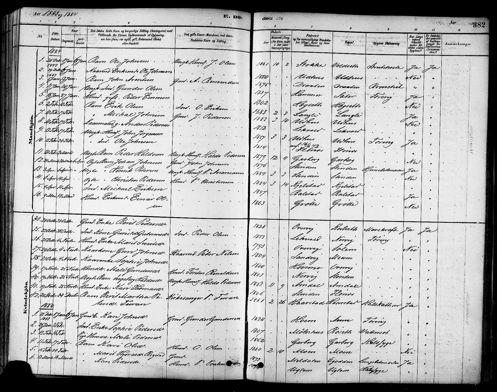 SAT, Ministerialprotokoller, klokkerbøker og fødselsregistre - Sør-Trøndelag, 695/L1148: Ministerialbok nr. 695A08, 1878-1891, s. 382