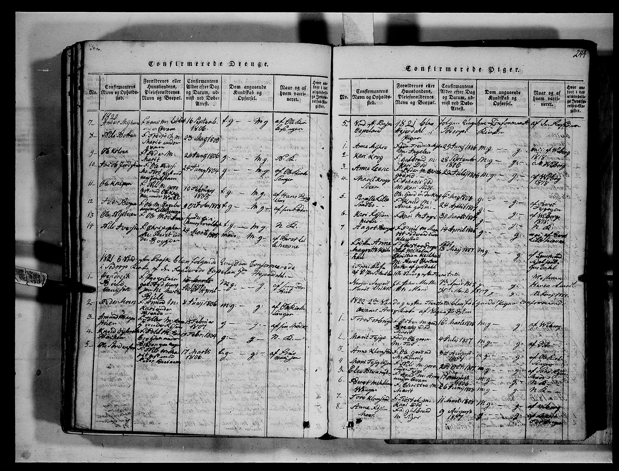 SAH, Fron prestekontor, H/Ha/Hab/L0002: Klokkerbok nr. 2, 1816-1850, s. 244
