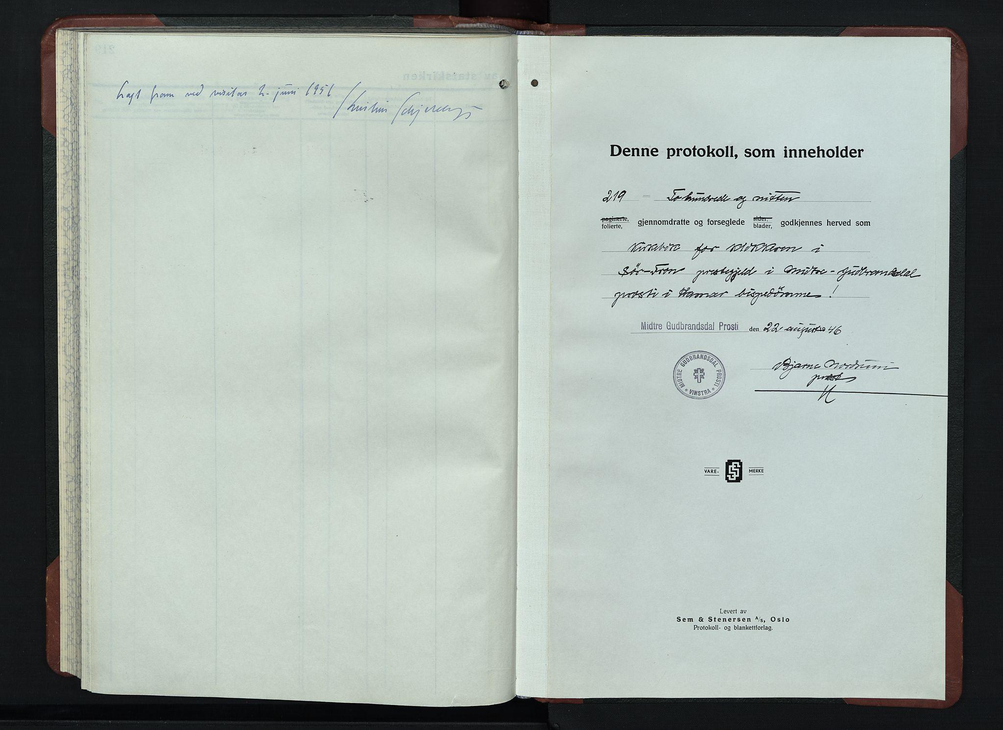 SAH, Sør-Fron prestekontor, H/Ha/Hab/L0006: Klokkerbok nr. 6, 1933-1948