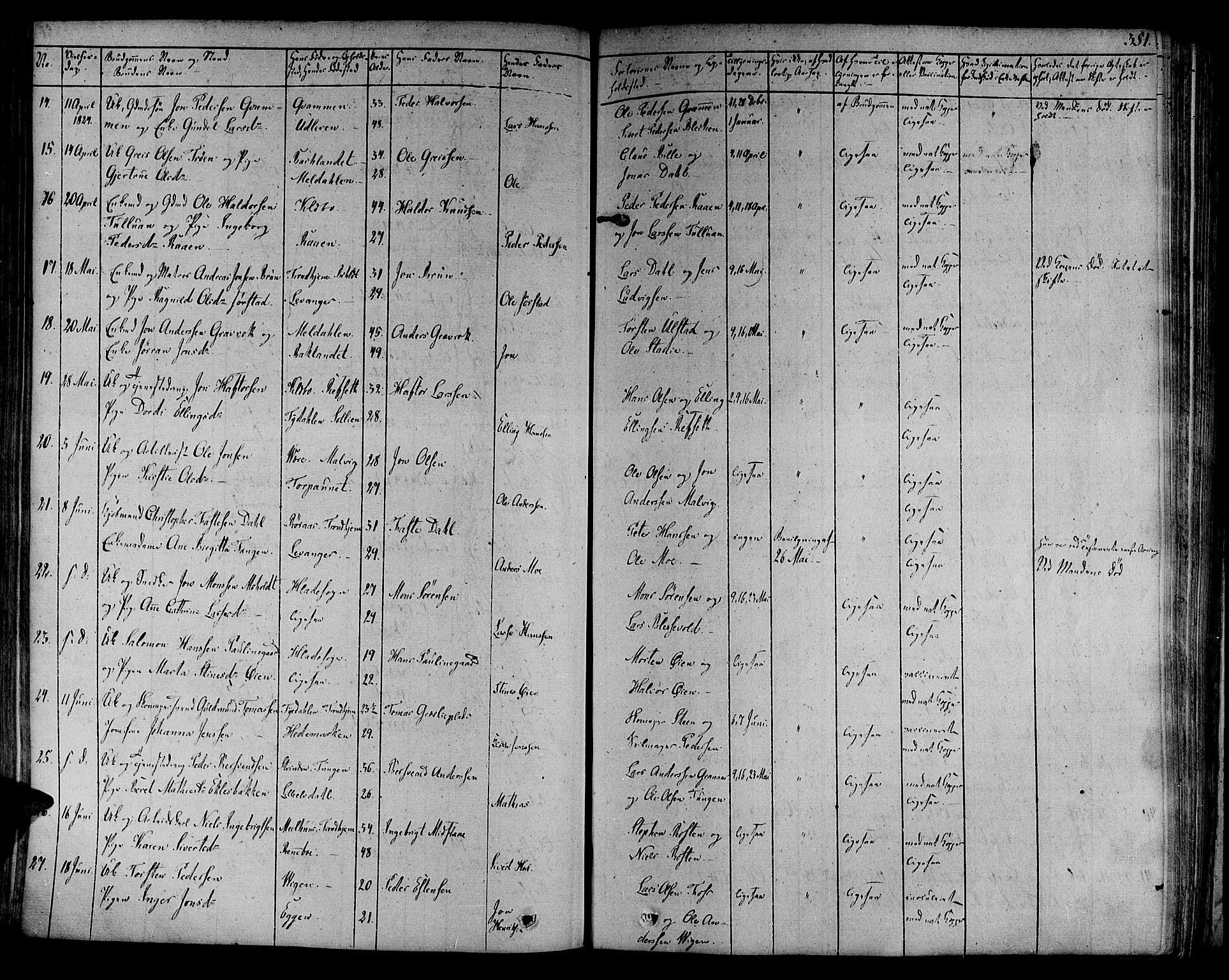 SAT, Ministerialprotokoller, klokkerbøker og fødselsregistre - Sør-Trøndelag, 606/L0286: Ministerialbok nr. 606A04 /1, 1823-1840, s. 351