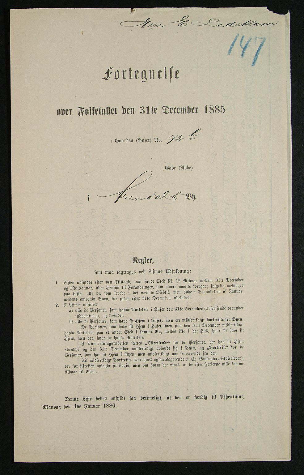 SAK, Folketelling 1885 for 0903 Arendal kjøpstad, 1885, s. 147