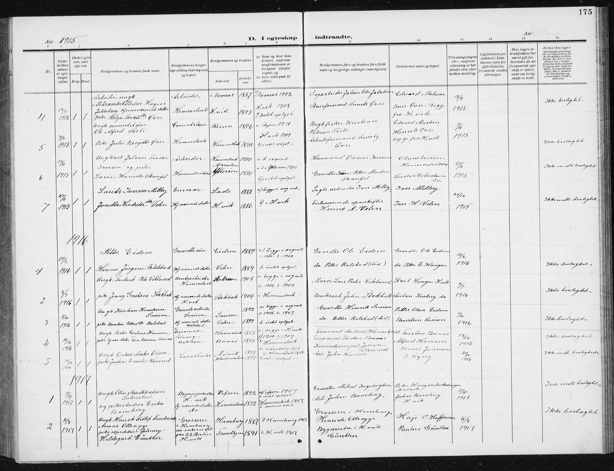 SAT, Ministerialprotokoller, klokkerbøker og fødselsregistre - Sør-Trøndelag, 617/L0431: Klokkerbok nr. 617C02, 1910-1936, s. 175