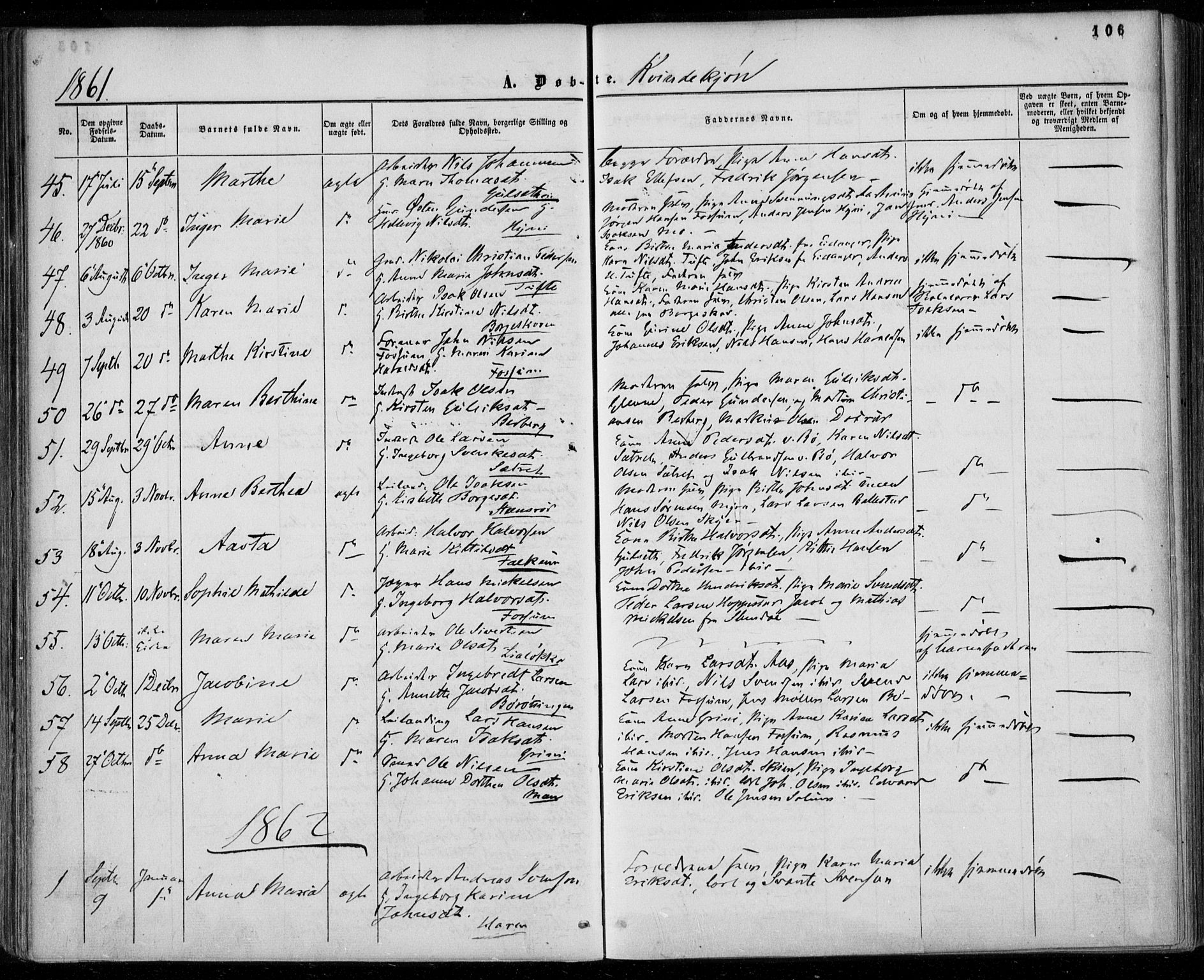 SAKO, Gjerpen kirkebøker, F/Fa/L0008a: Ministerialbok nr. 8A, 1857-1871, s. 106