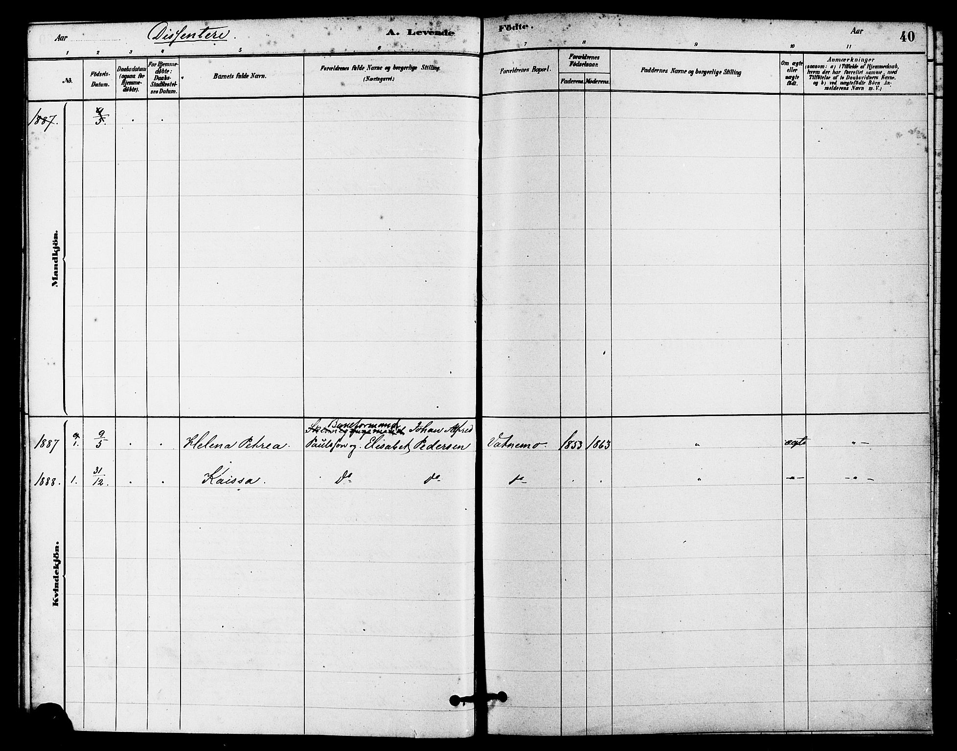 SAST, Egersund sokneprestkontor, Ministerialbok nr. A 16, 1879-1893, s. 40