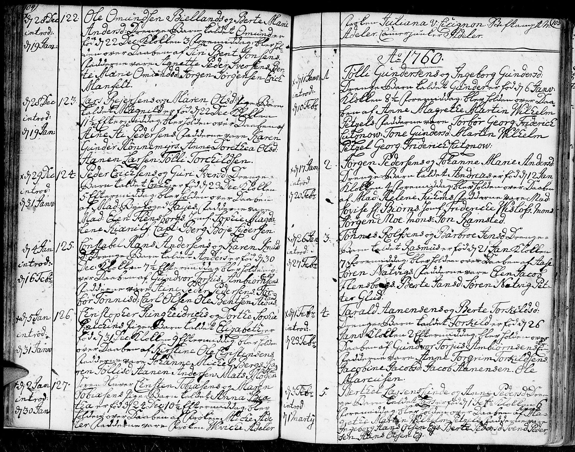 SAK, Kristiansand domprosti, F/Fa/L0002: Ministerialbok nr. A 2, 1755-1778, s. 104-105