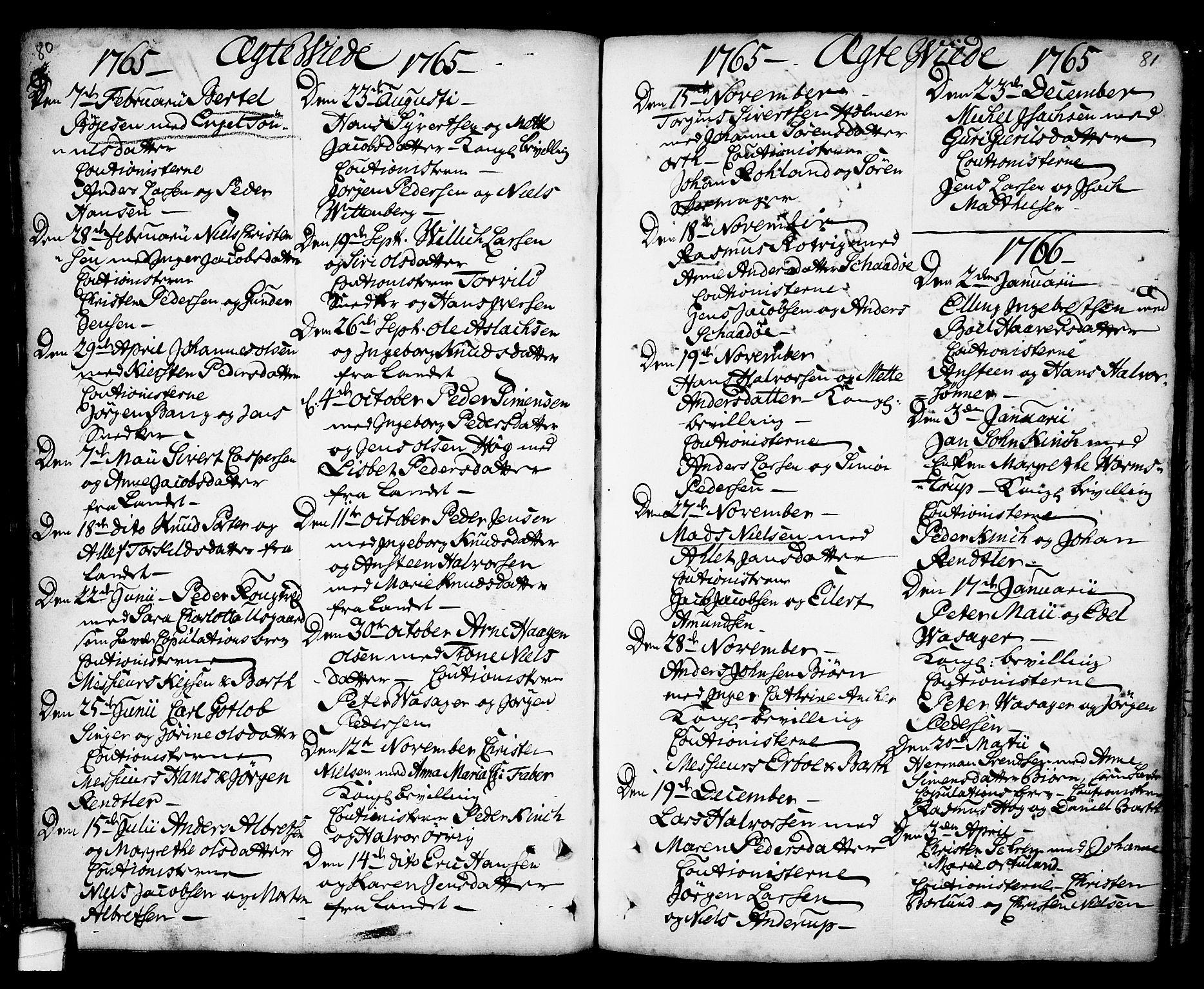 SAKO, Kragerø kirkebøker, F/Fa/L0001: Ministerialbok nr. 1, 1702-1766, s. 80-81